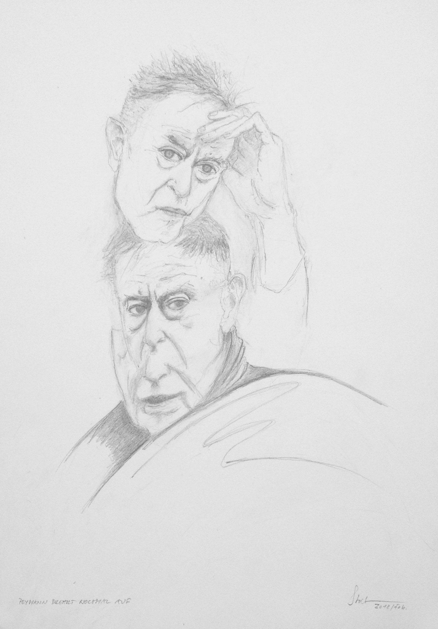 """Peymann dreht nochmal auf I"", 2018, Zeichnung, 40 x 30 cm (#840)"