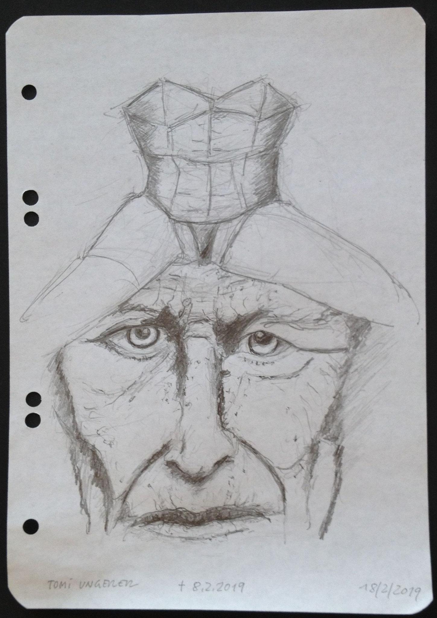 Tomi Ungerer, 2019, Zeichnung, 21 x 15 cm (#1004)