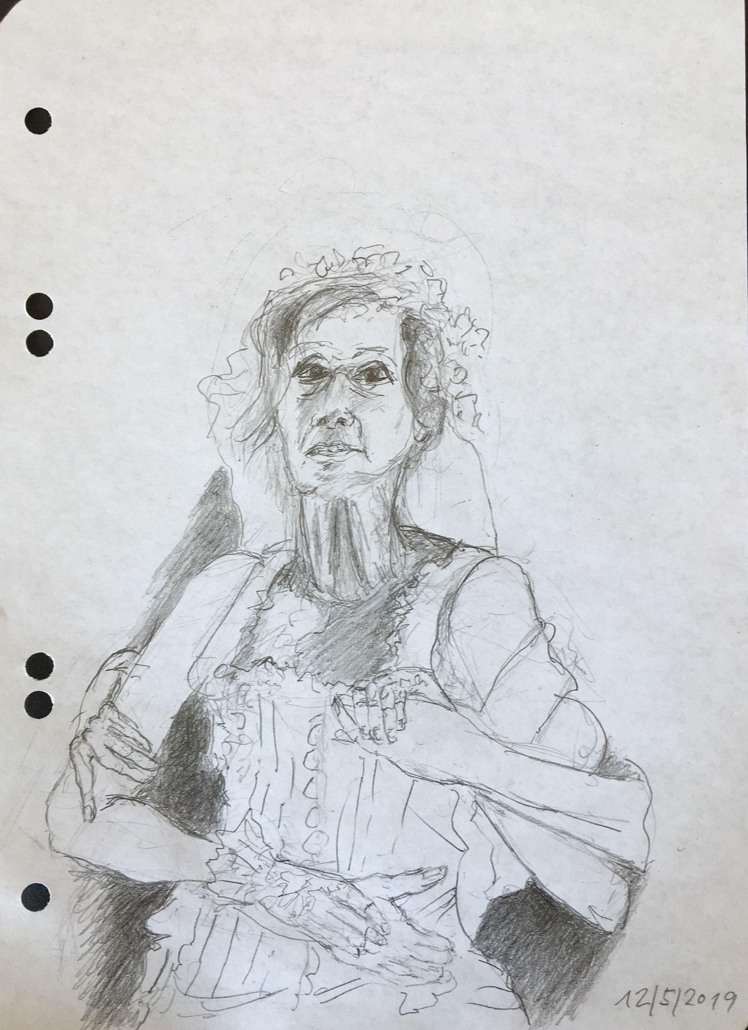 """Elke Twiesselmann als Maria Josefa in """"Bernarda Albas Haus"""" von Federico García Lorca, 2019, Zeichnung, 21 x 15 cm (#1017)"""