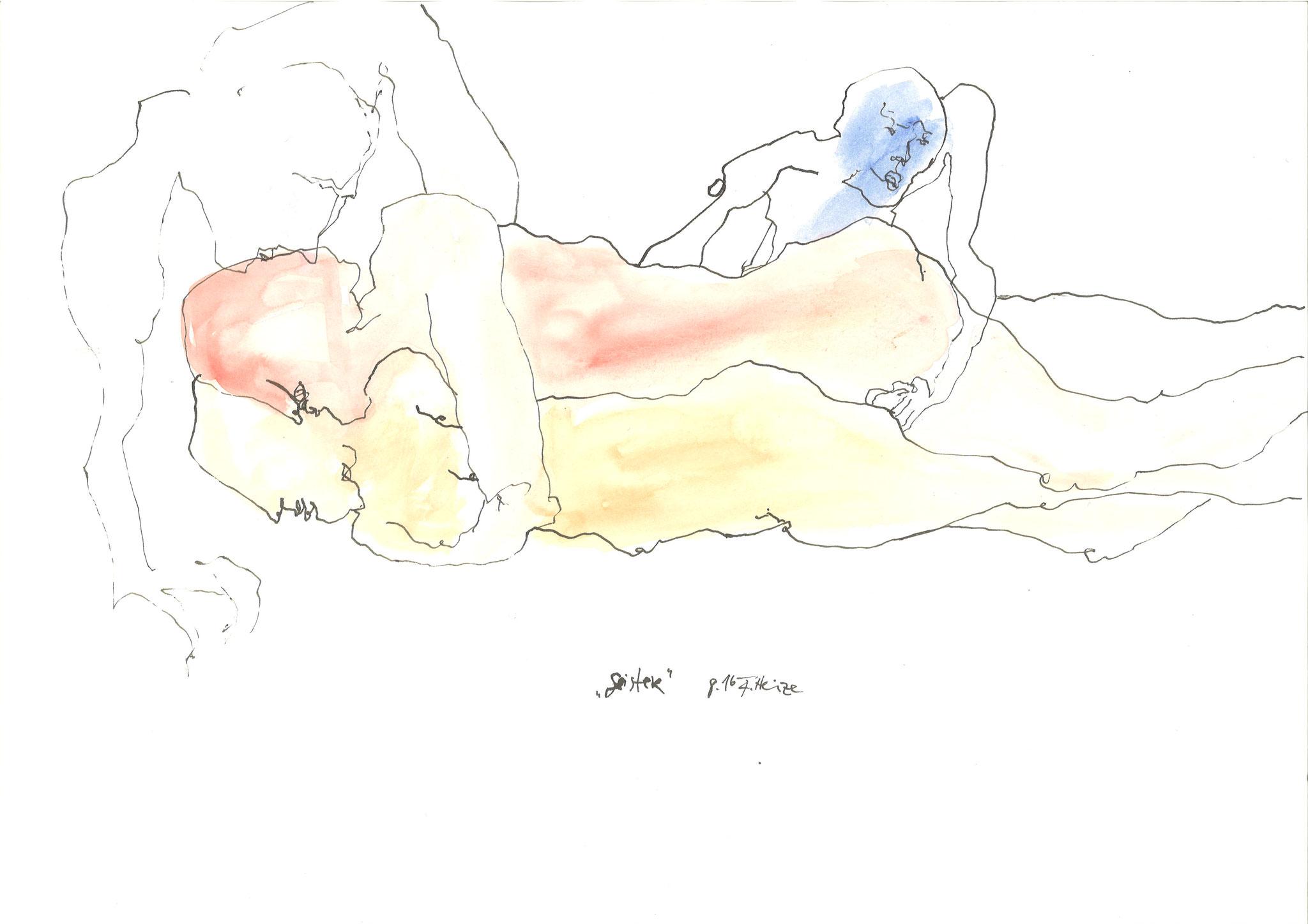 Geister 2016 Tusche Aquarell 59 x 42 cm