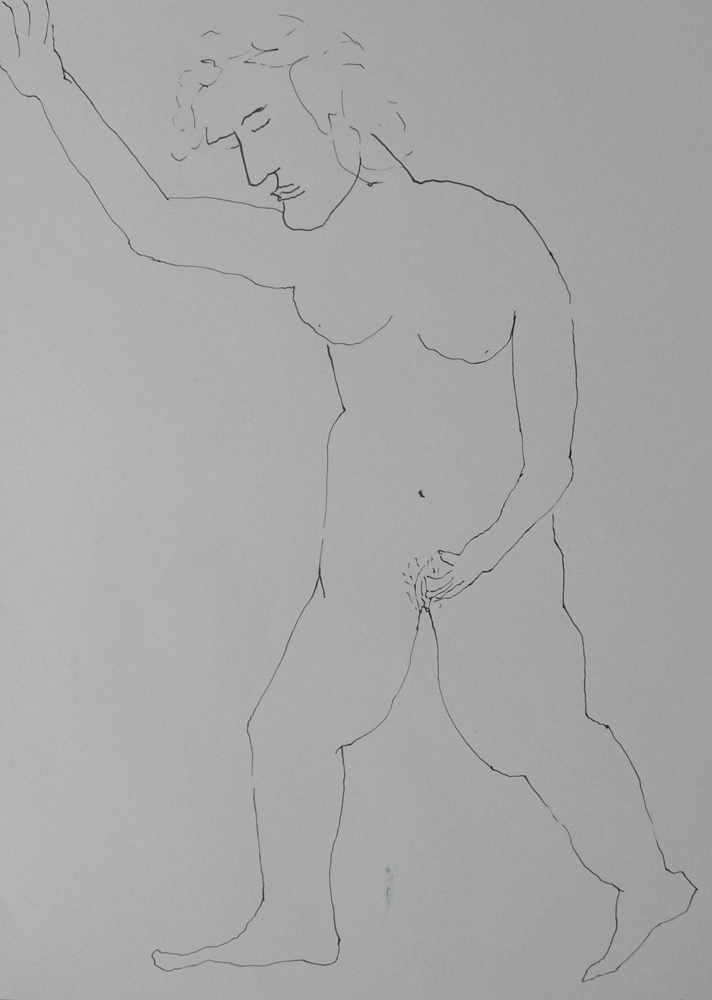 Fühlen Frau 2016 Tusche 29,7x42 cm