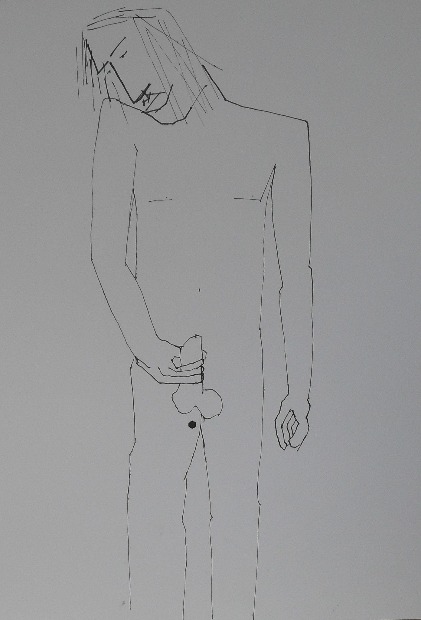 Fühlen Mann 2016 Tusche  29,7 x42 cm