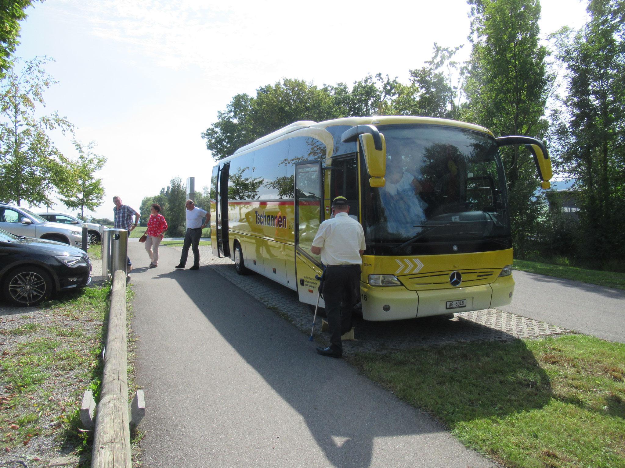 Ankunft beim Trainingszentrum Aabach in Hitzkirch