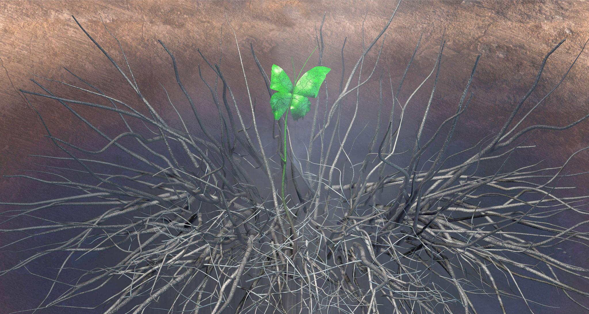 Der grüne Zweig, 2016, 70x140 cm