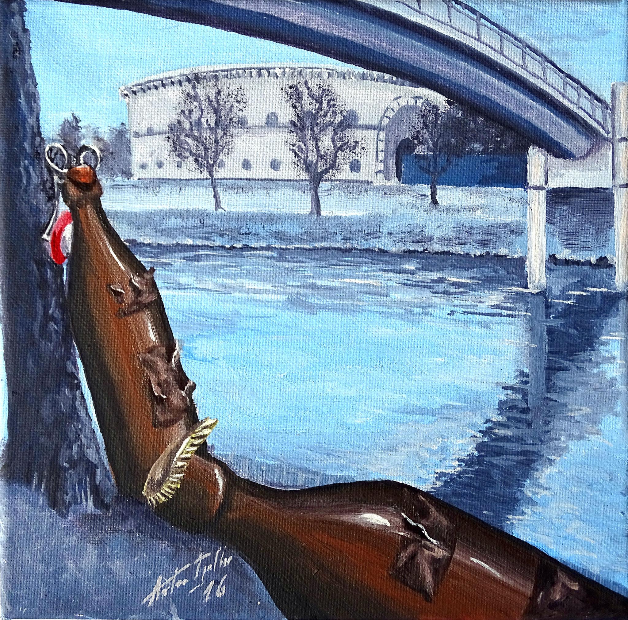 An der Donau - voll blau, 20x20 cm