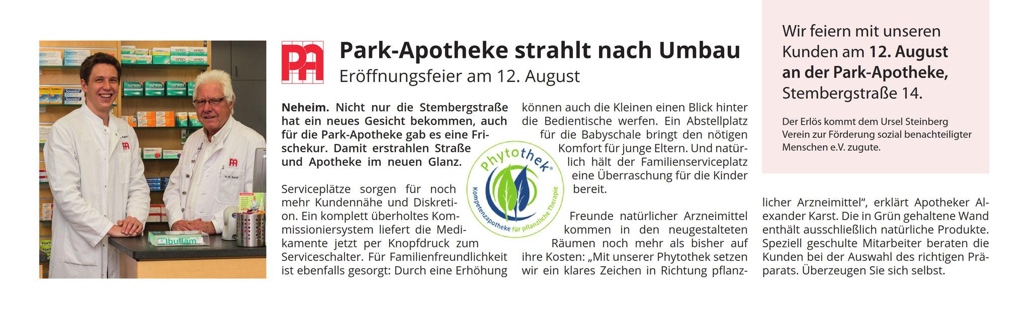 Park Apotheke Neheim: Anzeige & Pressearbeit zum Jubiläum