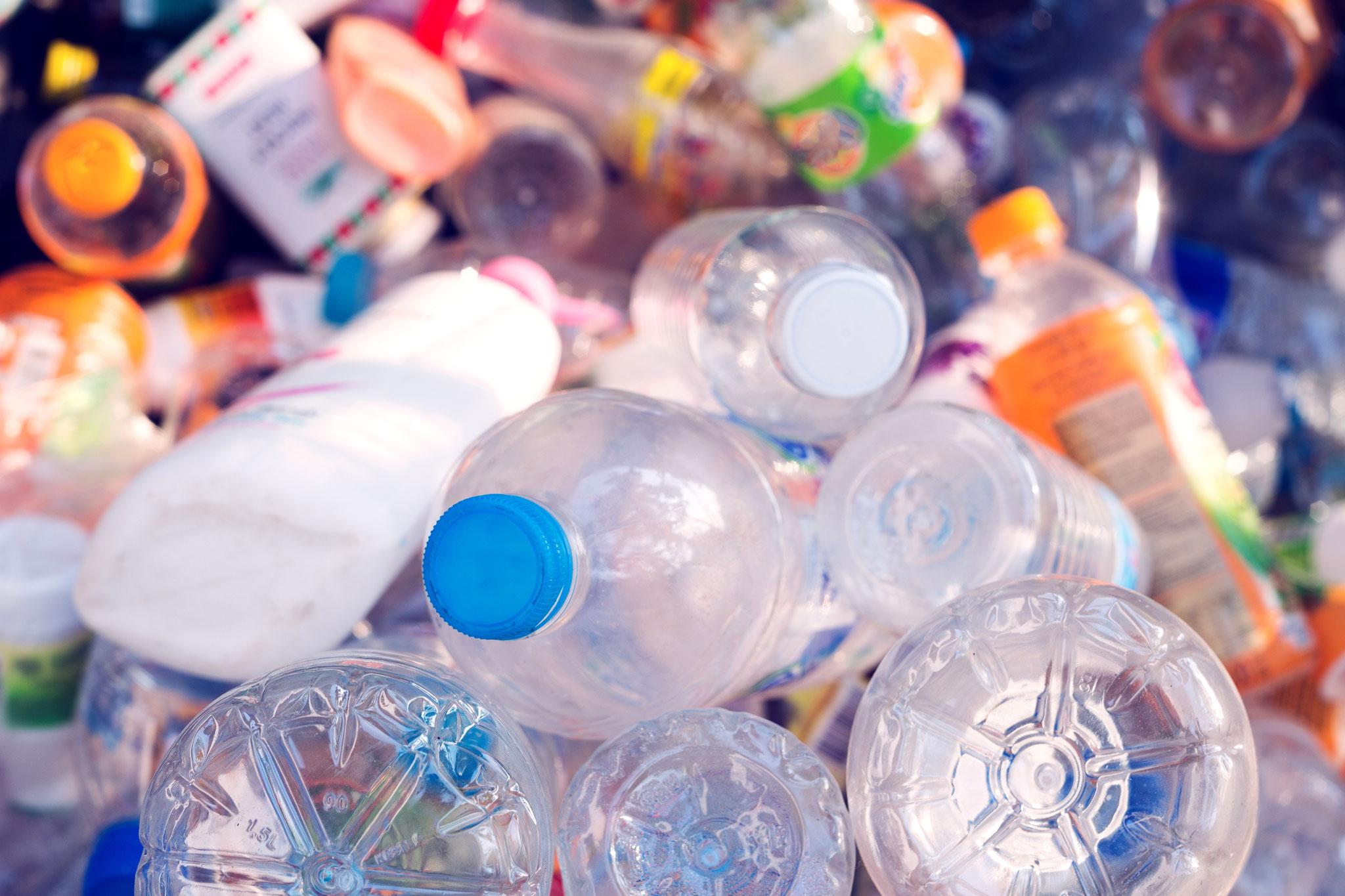 Die eingesammelten PET Flaschen