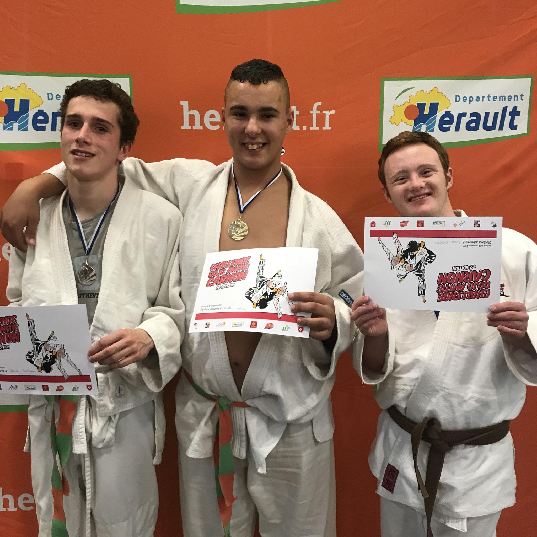 Bravos les gars Sofian 1,Maxime 2 de l'ime du Soler avec Lucas non  classé, Super comportement de nos judokas au Tournoi de Carnon .