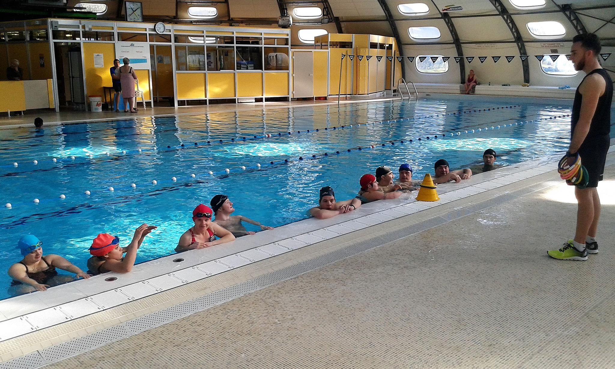 Groupe des nageurs avec Morgan.