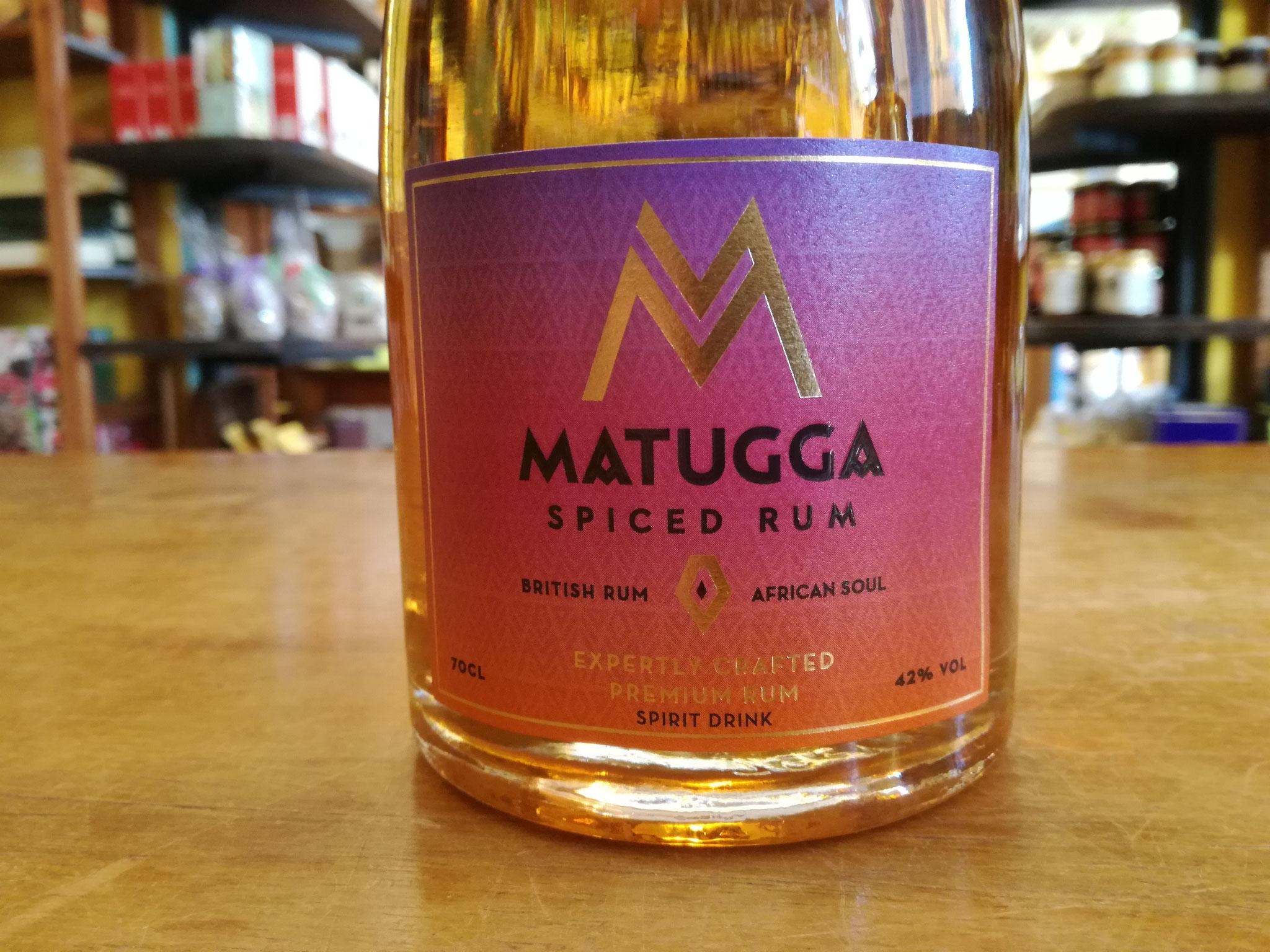 Matugga Spiced Rum:  Il Goden Rum viene speziato  con  Masala Chai, dall'aroma delicatamente speziato e ben bilanciato. Alcool 42% 0,7L