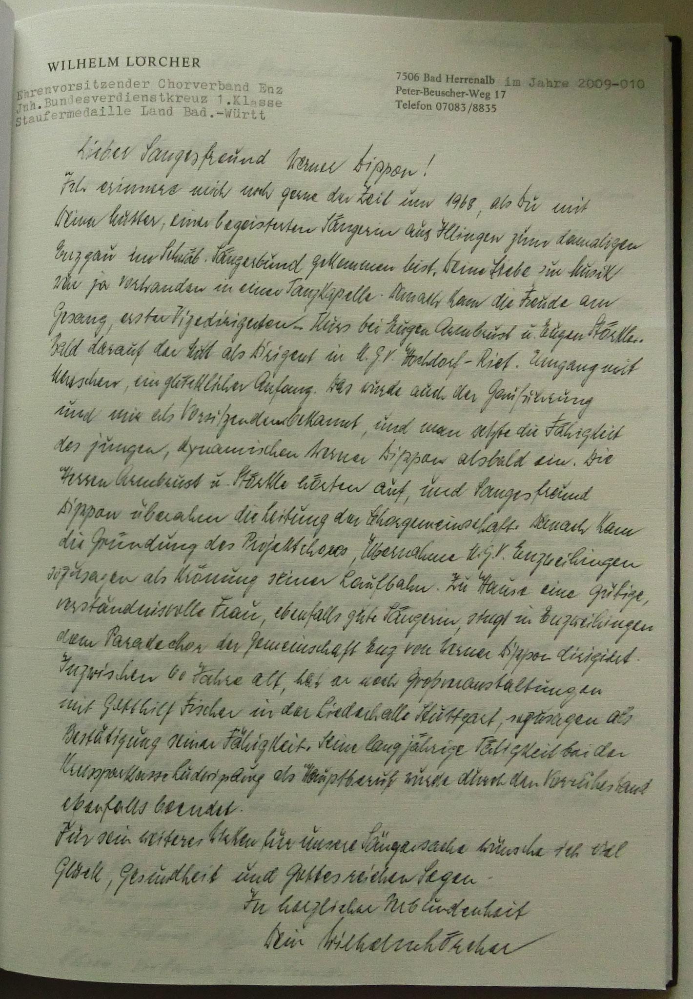Ehrengauvorsitzender Wilhelm Lörcher