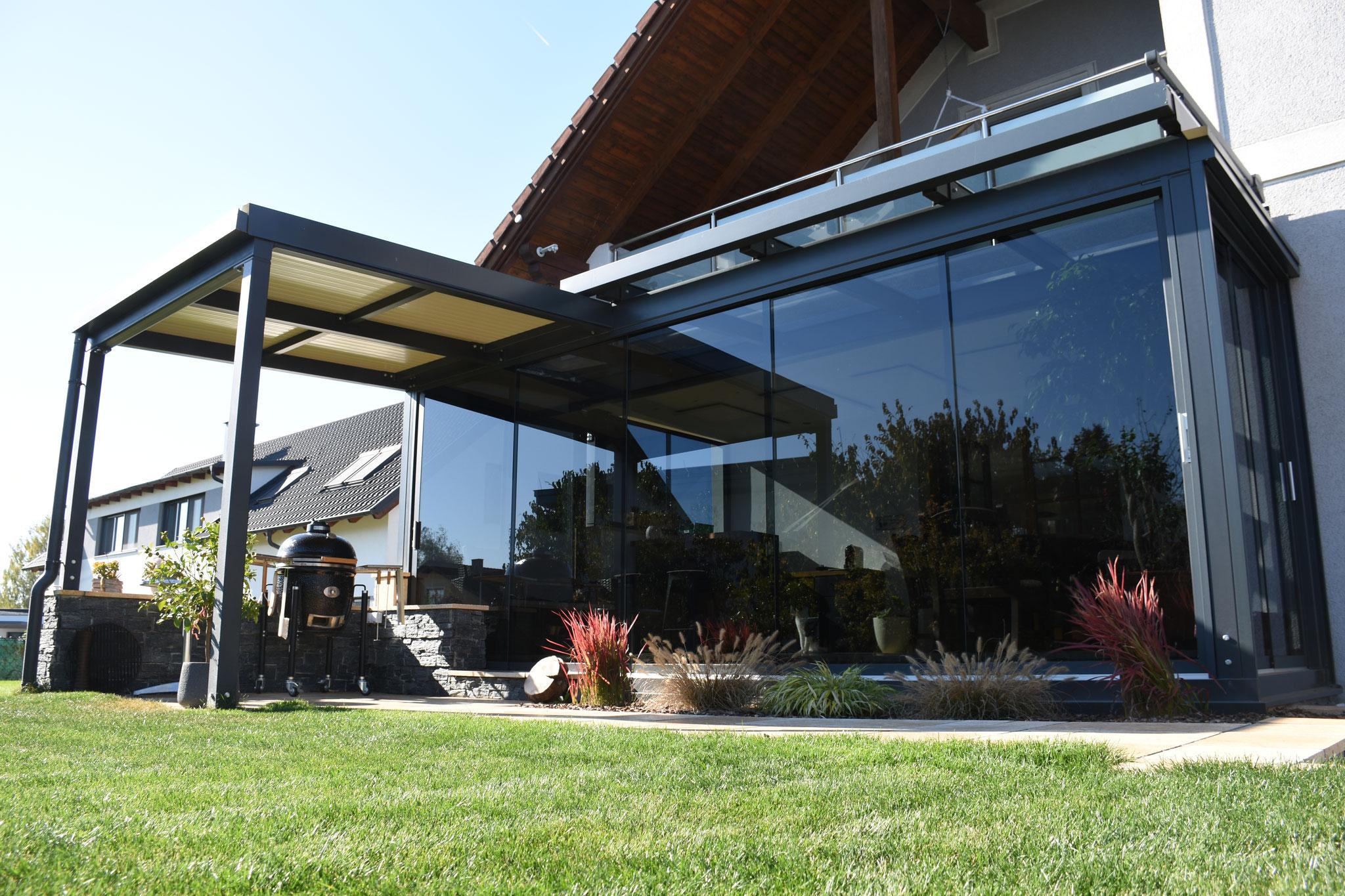 Terrassenuberdachung Glas Sonnenschutz Terrasse Terrassendach Alu