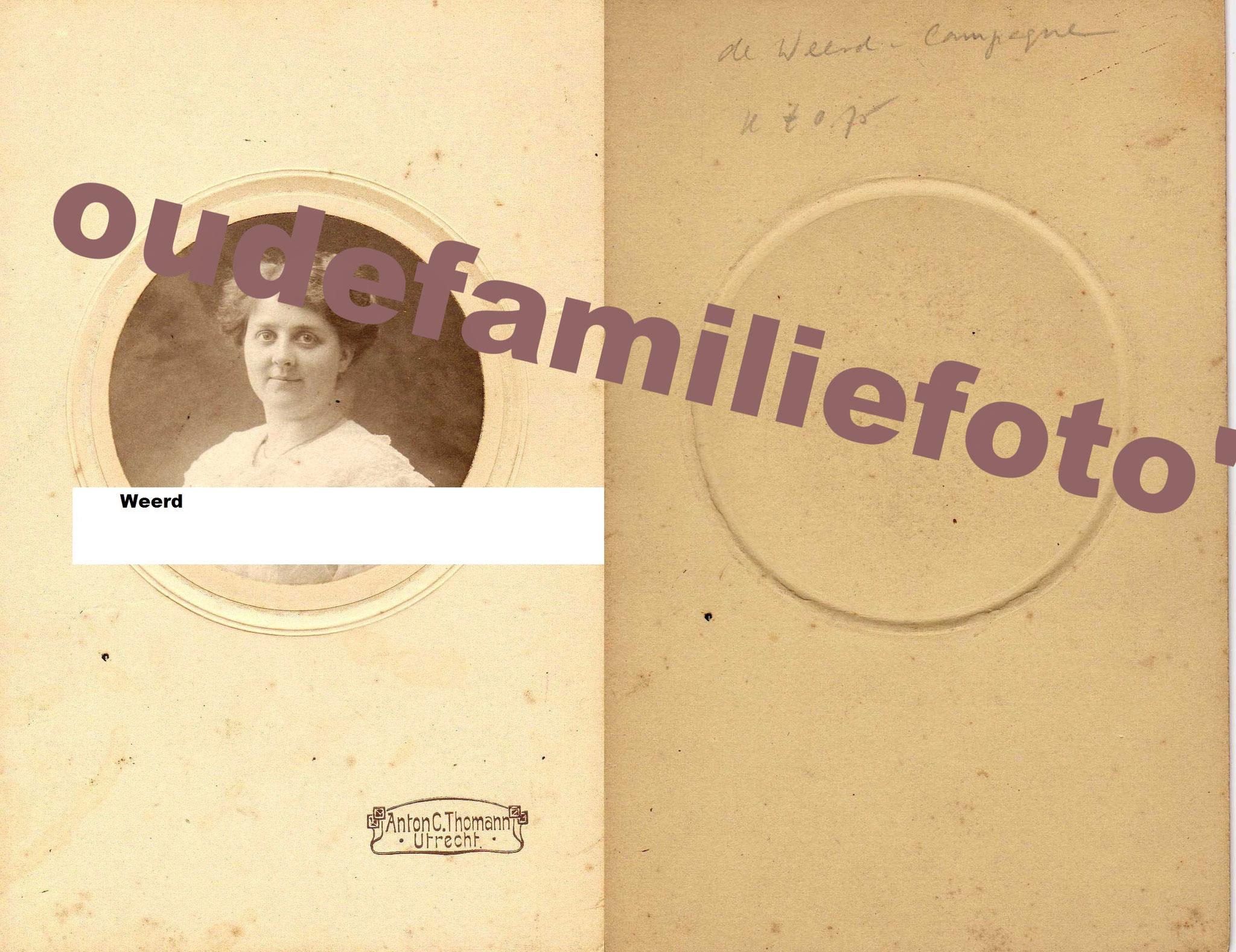 Campagne, Antonia Maria geb. 3 december 1884 gehuwd met Hendrikus Marinus de Weerd € 3,00