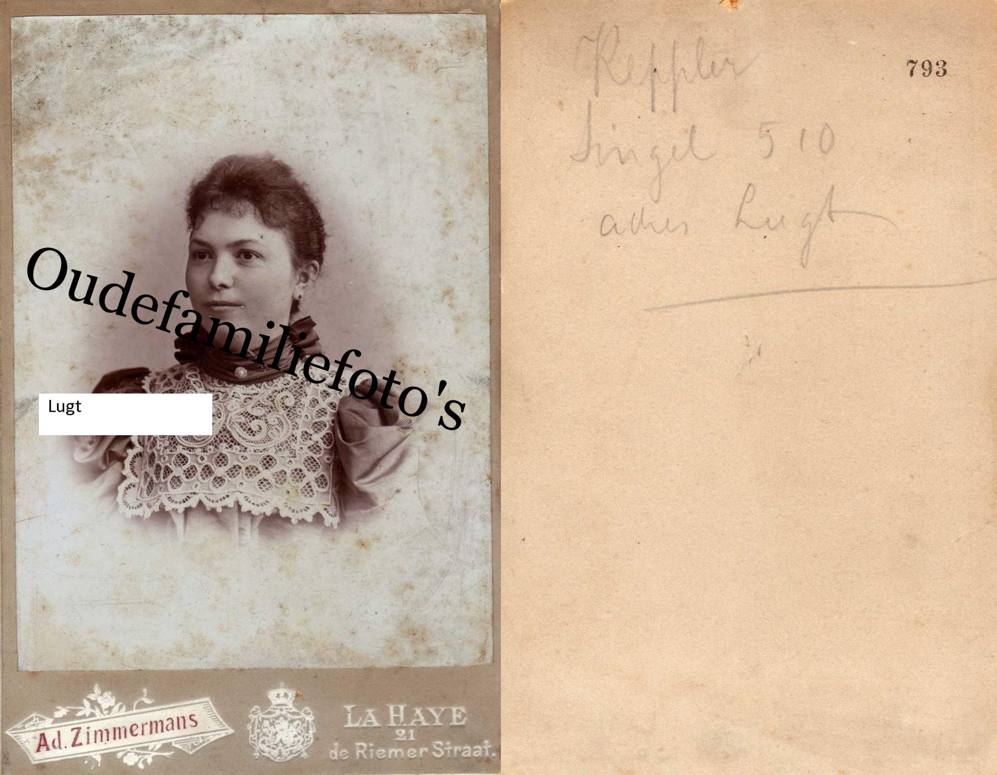Lugt, Maria Christina. Geb. 4-6-1843 Amsterdam Ovl 4-11-1924 Hilversum getrouwd met J.G Keppler. € 4,00