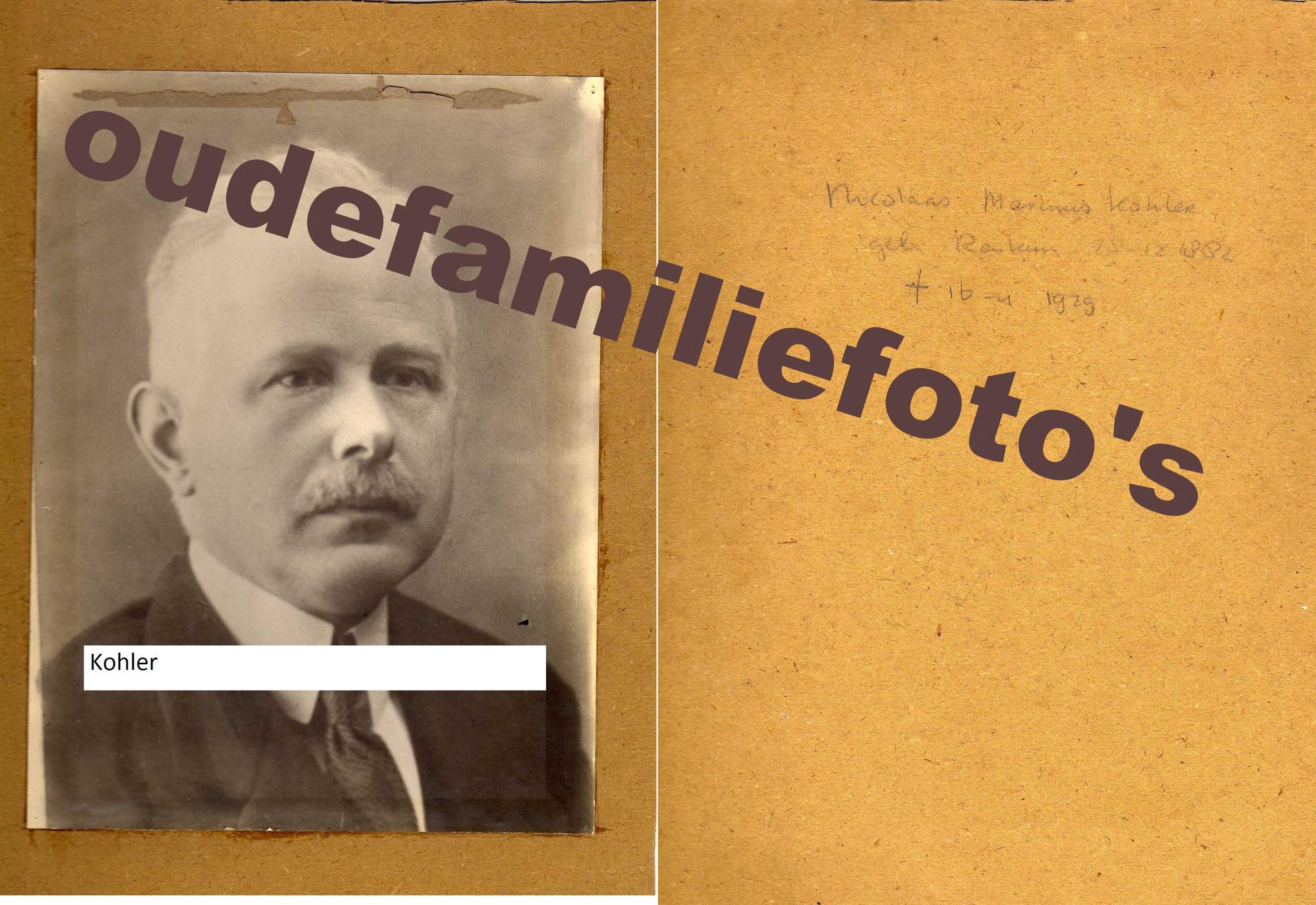 Kohler, Nicolaas Marinus geb. 28-12-1882 Renkum. ovl. 16-4-1929 Utrecht € 2,00