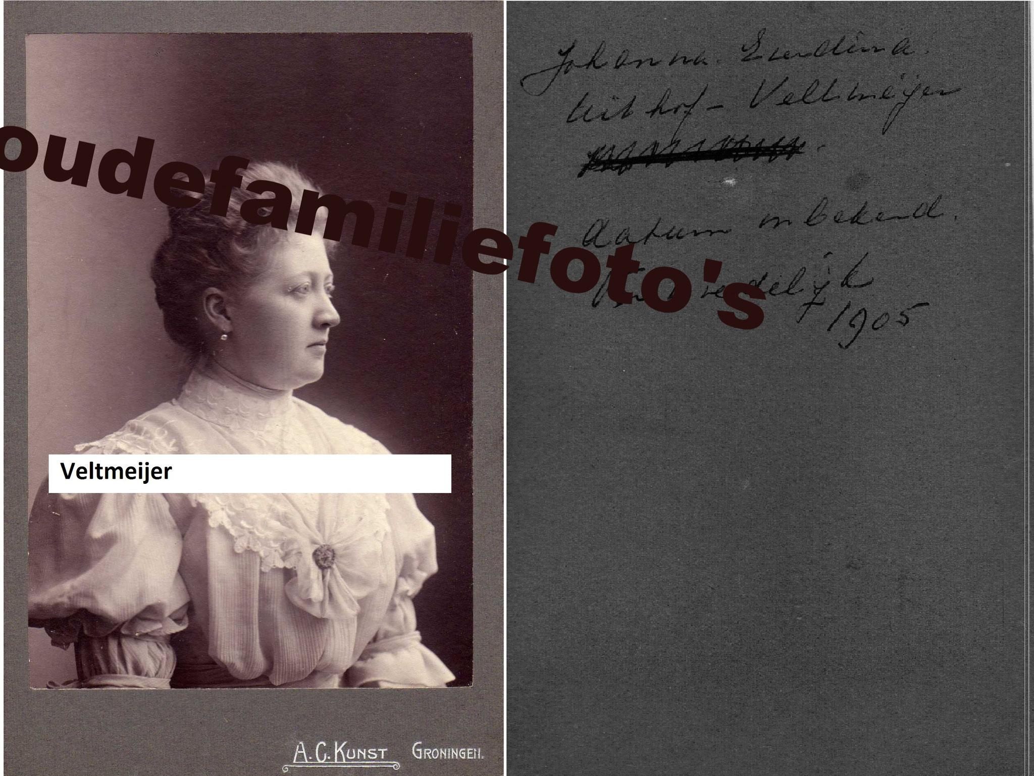 Veltmeijer, Johanna Everdina. geb: 12-8-1871 Rotterdam ovl: 27-11-1931. gehuwd met Carel Johan Uithof. € 4,00