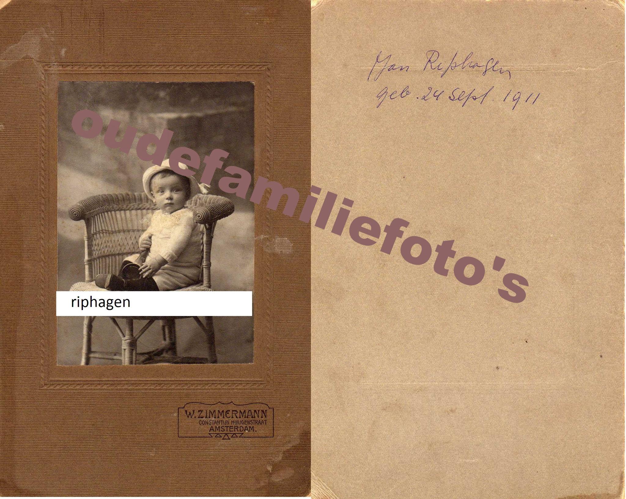 Riphagen, Johannes. geb: 24-9-1911 Heemstede. ovl: 23-5-1931 Heemstede. Ouders Dirk. Martha Margaretha Raijmann. € 3.50