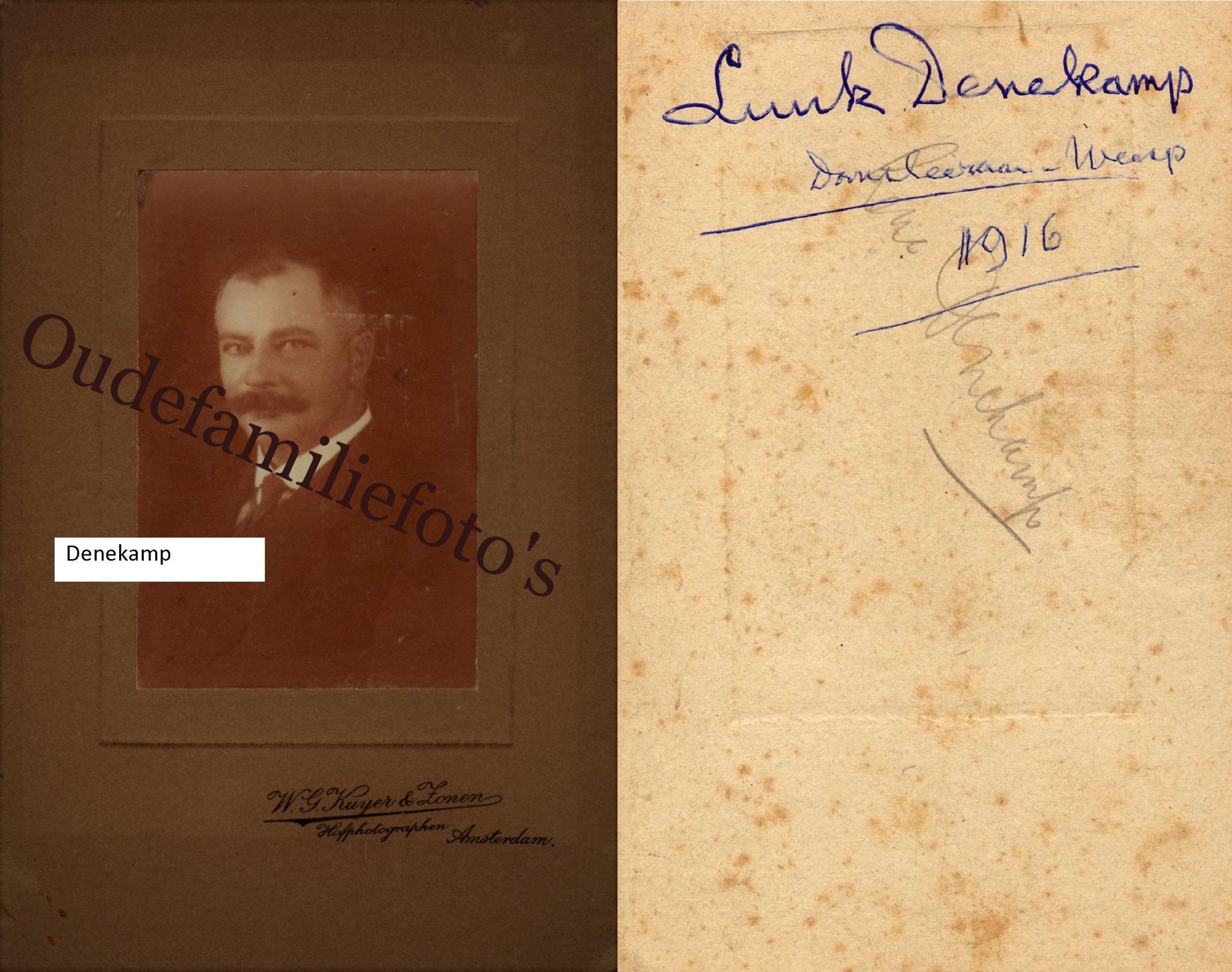 Denekamp. Lucas Franciscus. Beroep: Dansmeester. Geb. 11-3-1874 Amsterdam Ovl. 25-9-1918 Weesp. € 2,00