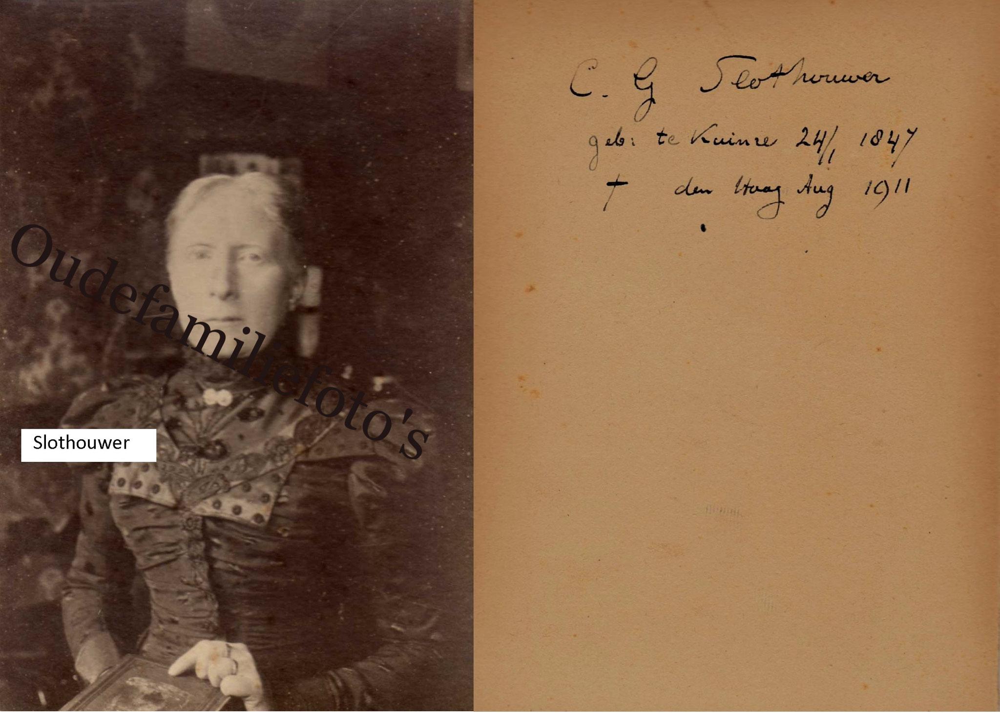 Slothouwer, Cornelia Geertruida. Geb. 24-1-1847 Kruinre Ovl 28-7-1911 Den-Haag. € 4,00