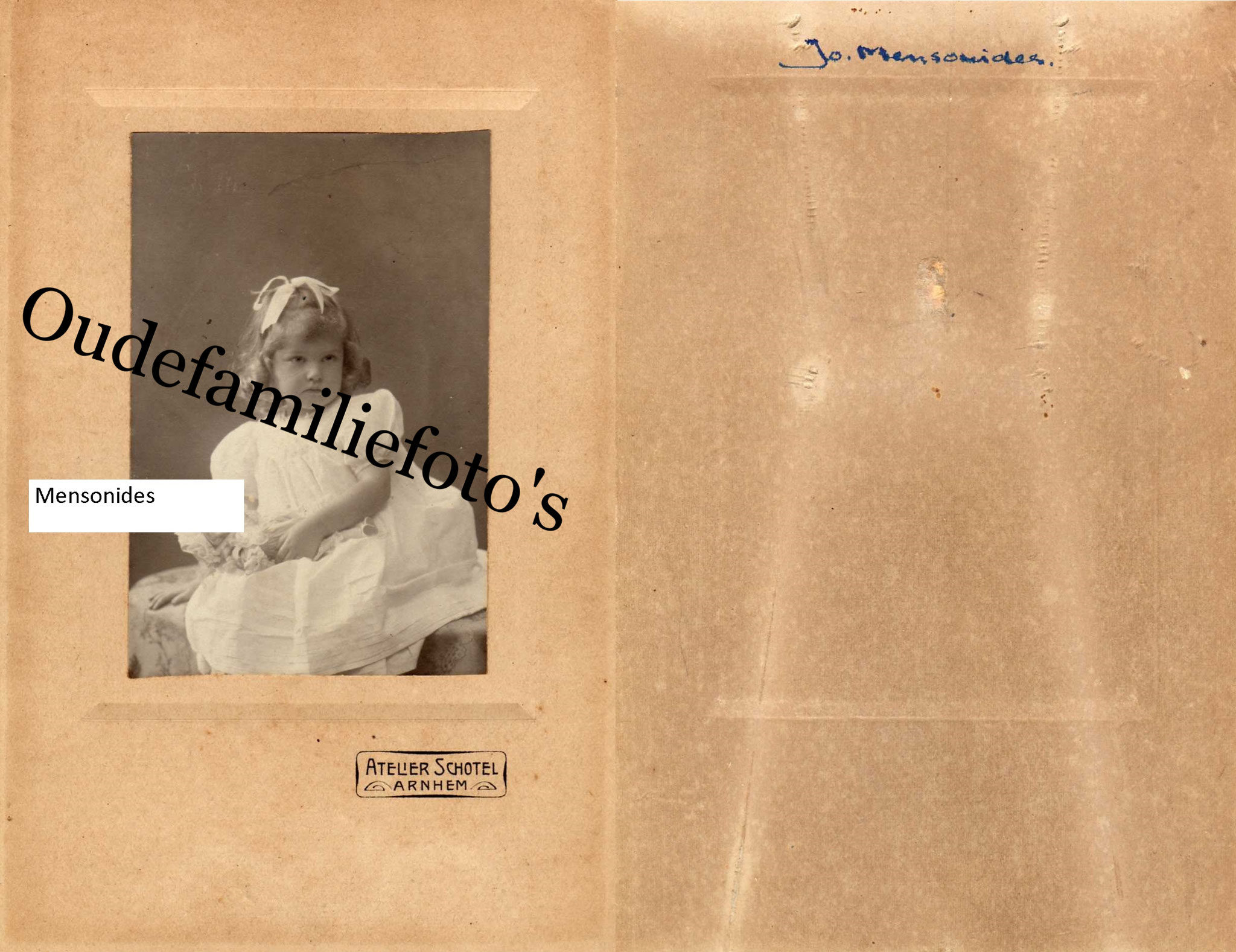 99% Mensonides Johanna Hendrika. Geb. 8-2-1904 Kerkrade. Dochter van Hector Jacob Coenraad en Koldenhof. € 3,00