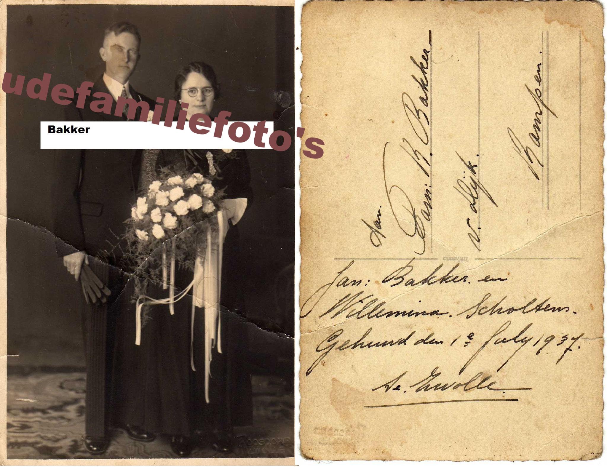 Bakker, Jan Scholtens Wilhelmina getrouwd 1-7-1937 Zwolle € 2,00