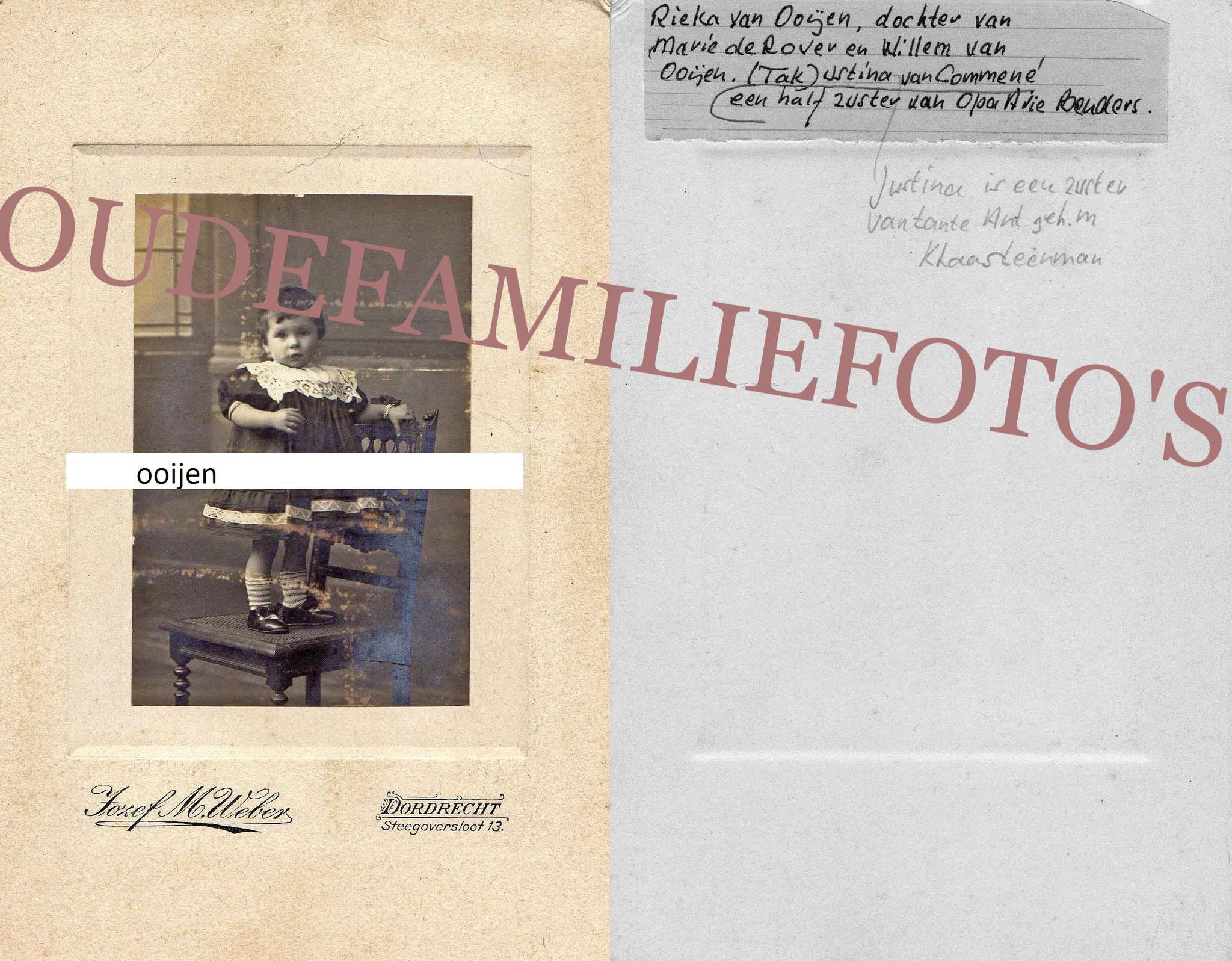 Oojen van, Henderika Elizabeth. geb: 10-9-1907. ouders Willem Mathias en Maria Catharia de Rover. € 3,00
