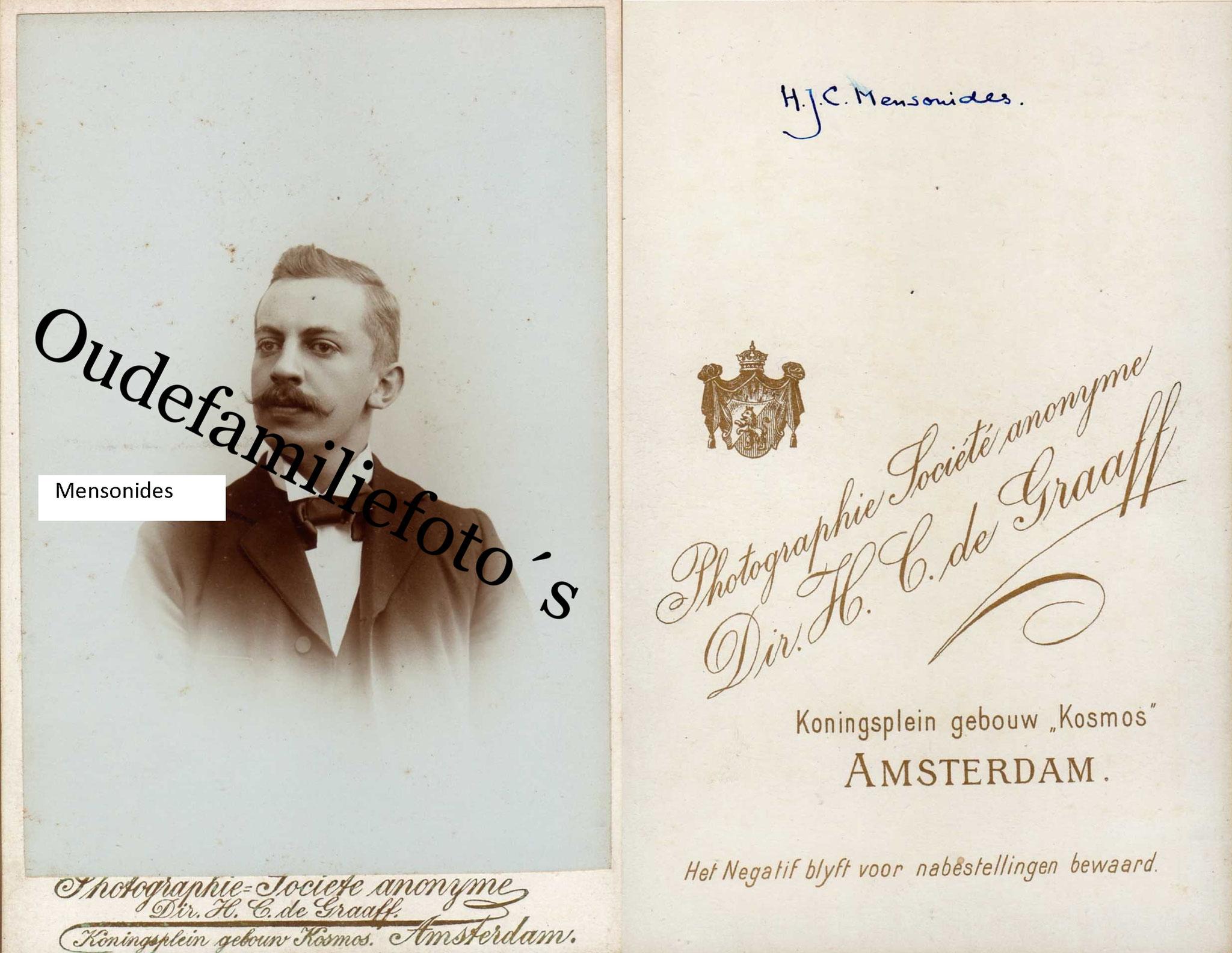 Mensonides, Hector Jacob Coenraad. Geb. 18/7/ 1873 Hensbroek. € 3,00