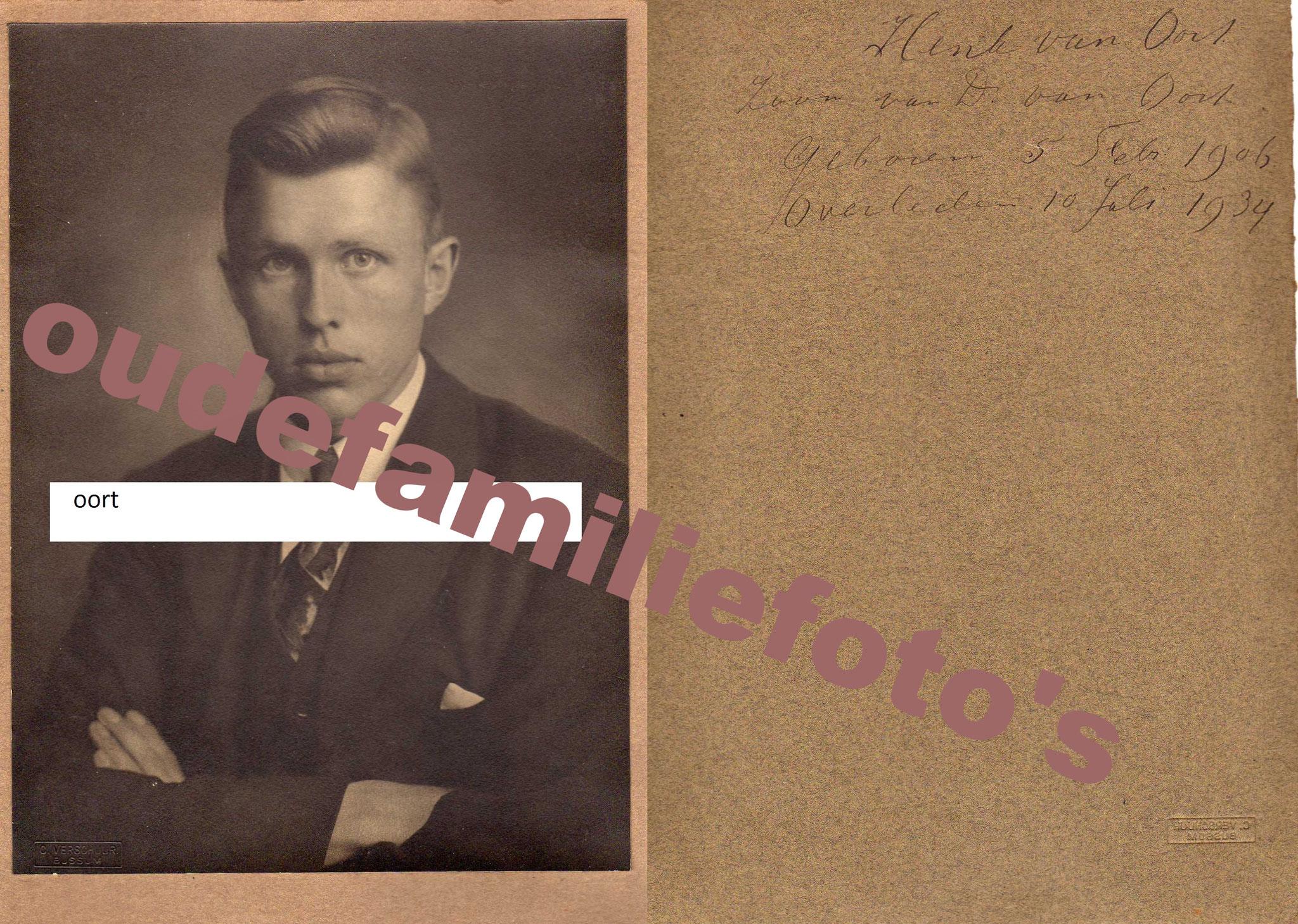 Oort van, Hendrik Dirk. Geboren op 05-02-1906 te Amsterdam, overleden op 10-07-1934 te Amsterdam € 3.00