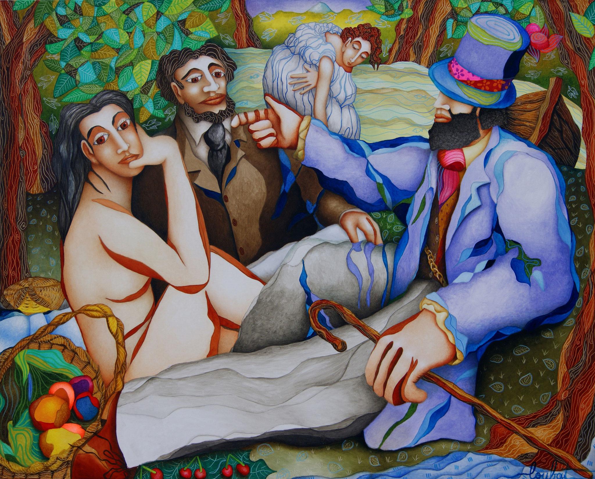 Déjeuner sur l'herbe - Technique mixte sur toile - 130 x 160cm