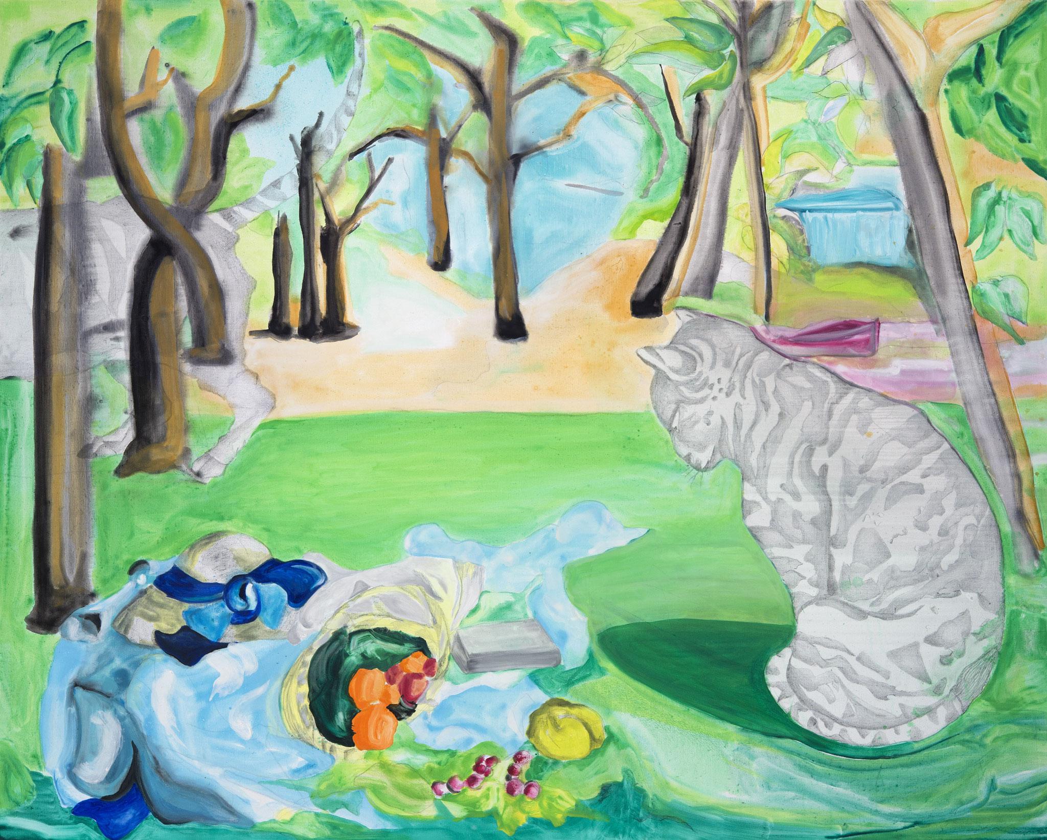 Déjeuners sur l'herbe...à chats - Acrylique sur toile - 162x130 cm
