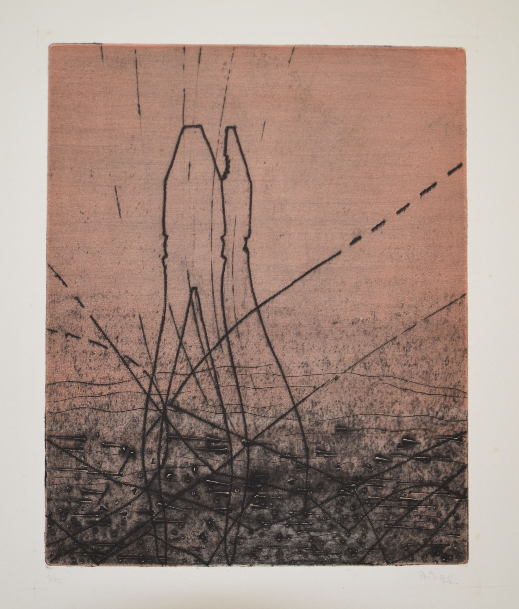 Duo gravure 56x45cm 1973