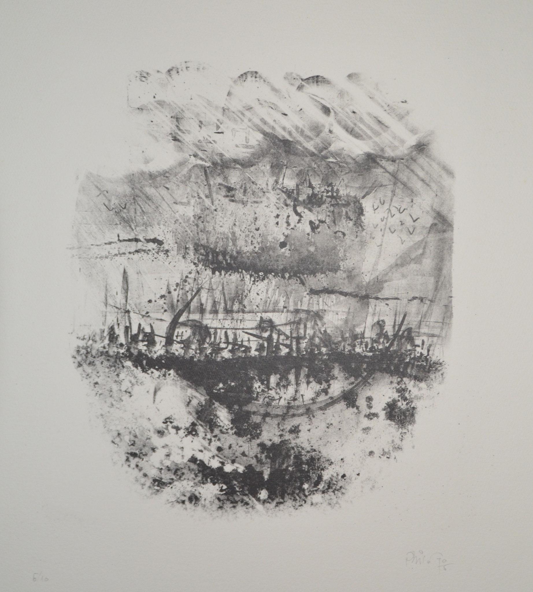 Nuit bleue lithographie 59x39cm 1975