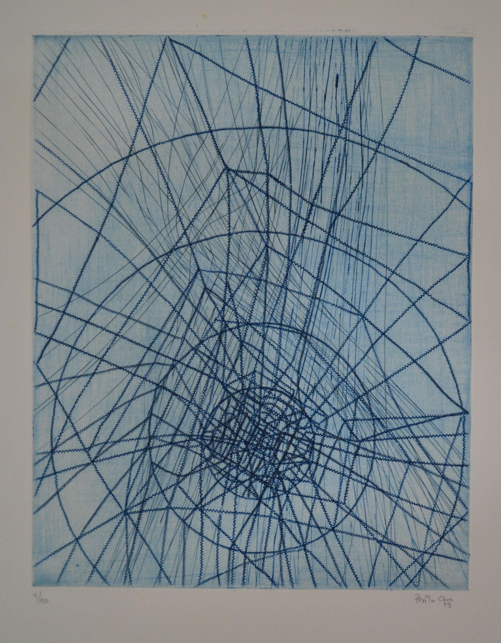 A travers l'univers gravure 56x38cm 1973