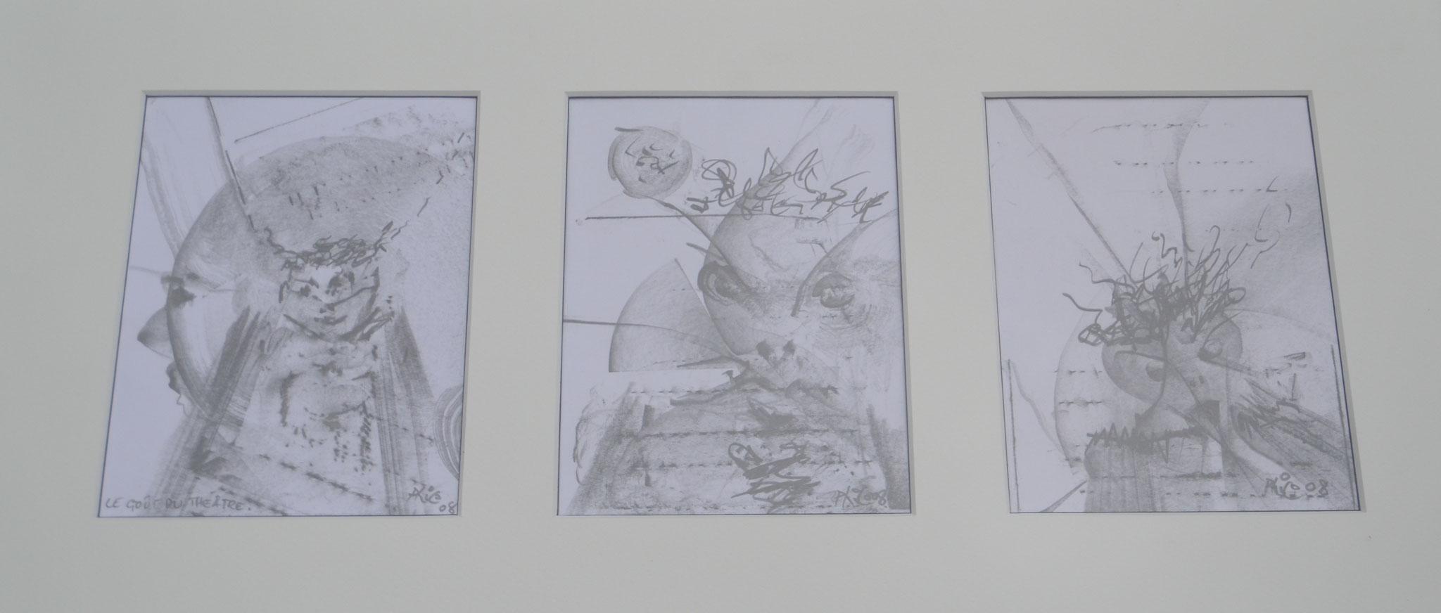 LE GOUT DU THEATRE 2008 TRIPTIQUE  dessin 30X40 CM