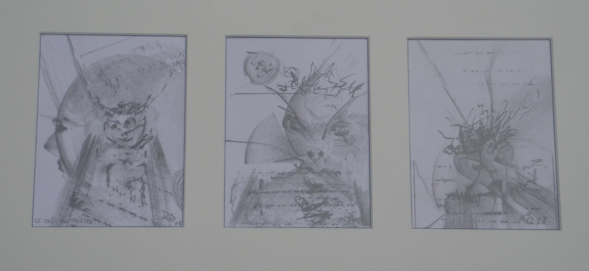 LE GOUT DU THEATRE 2008 TRIPTIQUE dessin 30x40cm