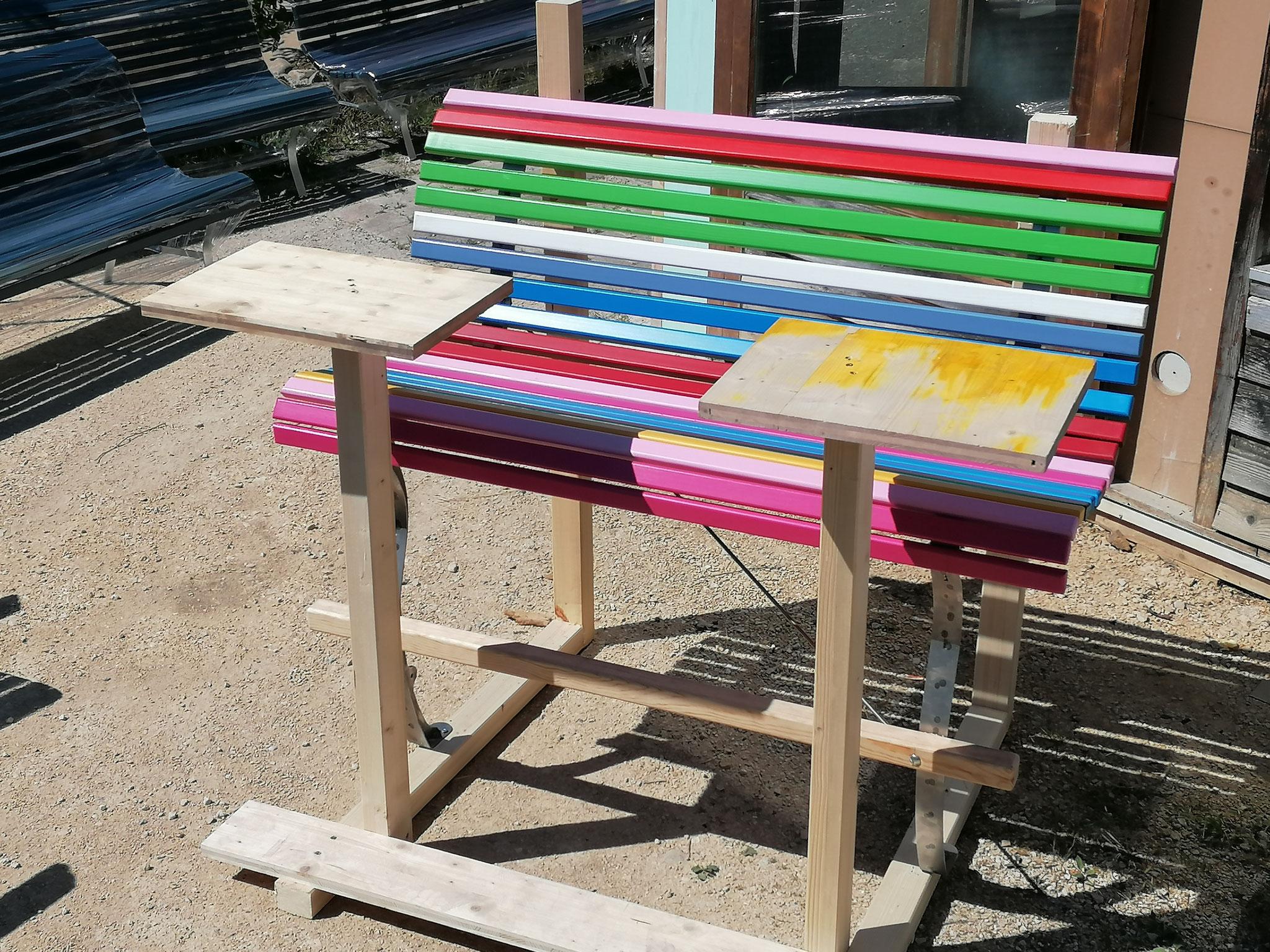 Prototyp mit höhenmasslich korrekten jedoch symbolischen Tischen zur kontrolle...