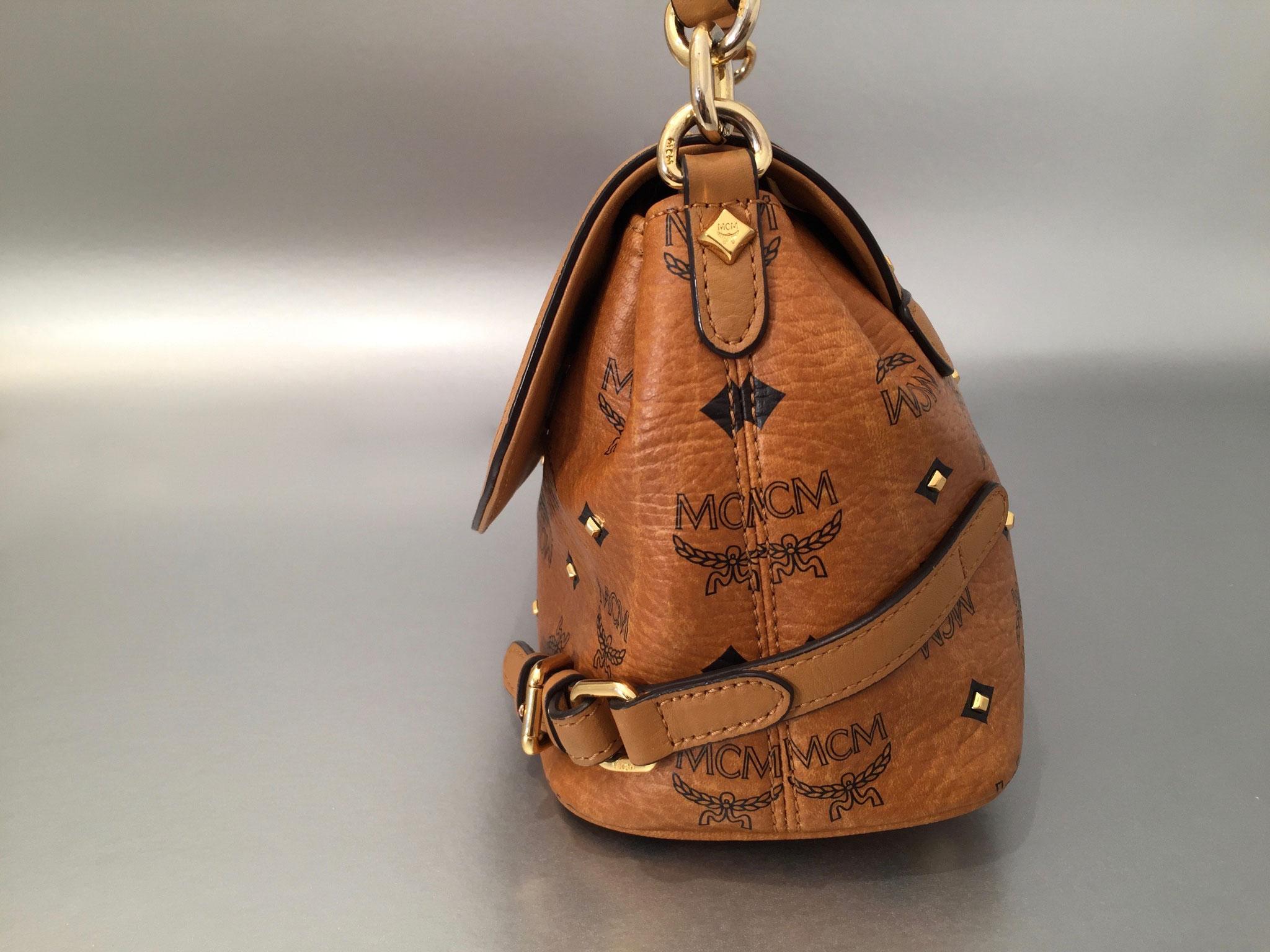 MCM Gold Visetos Crossbody Tasche Small in Cognac
