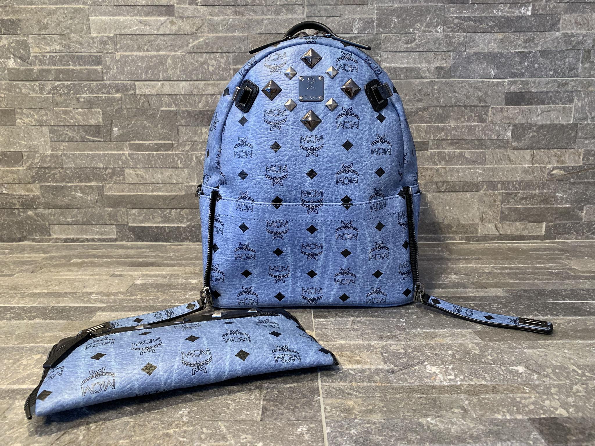 MCM Visetos Dual Stark Rucksack Small in Denim Blue