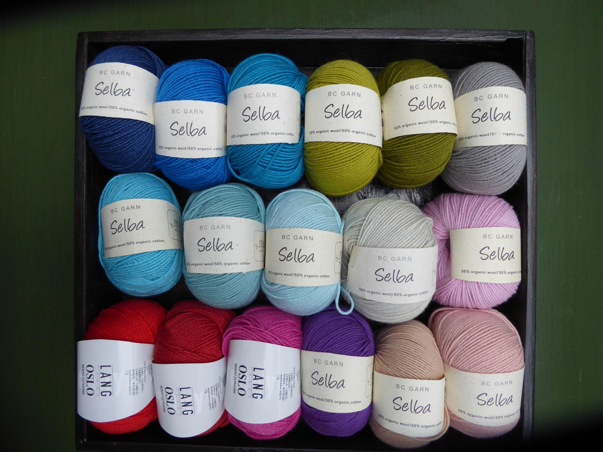 Selba, 50% Schurwolle, 50 % Baumwolle, LL155m/50gr.  5,50 Euro/50gr. Ein wunderbares Sommergarn für Pullover, Tücher und vieles mehr.