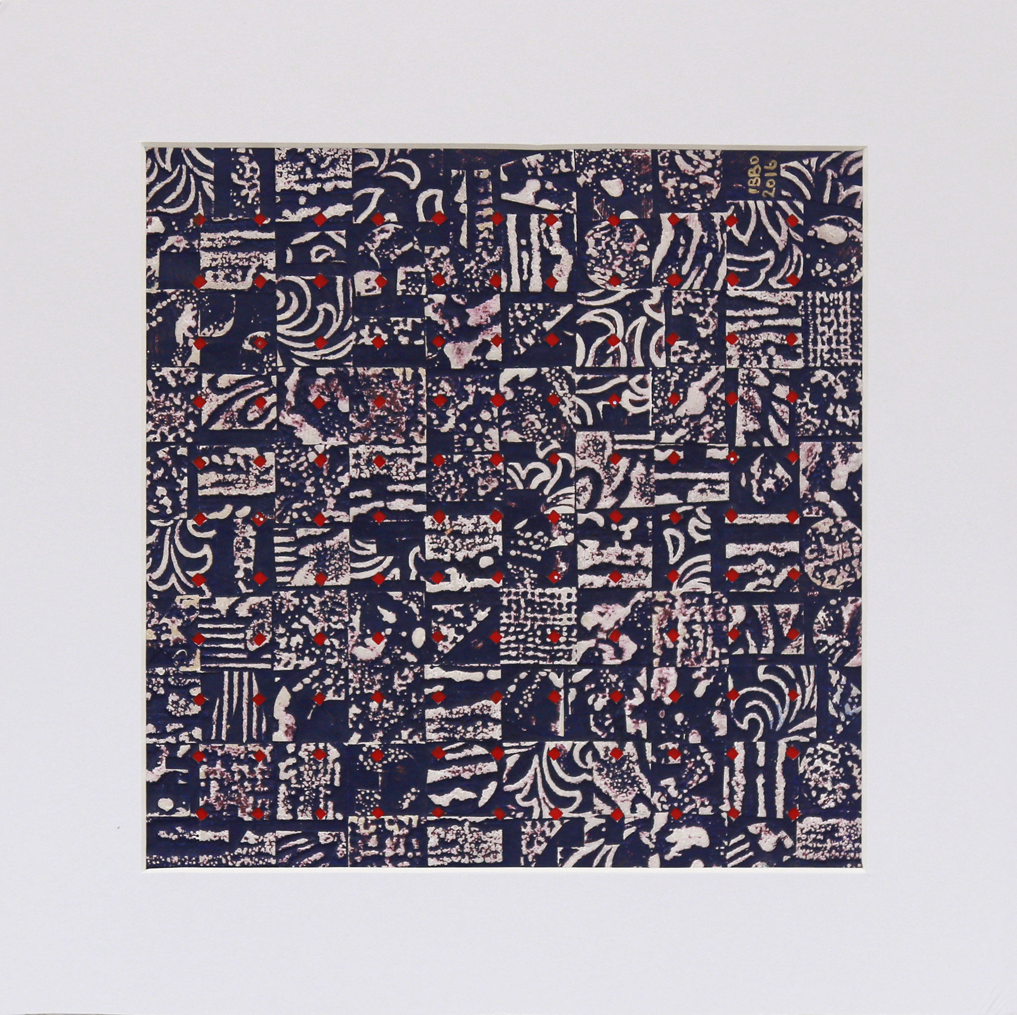2010 Blue Relief 24 x 24 cm Mixed media (34 x 34 cm framed)