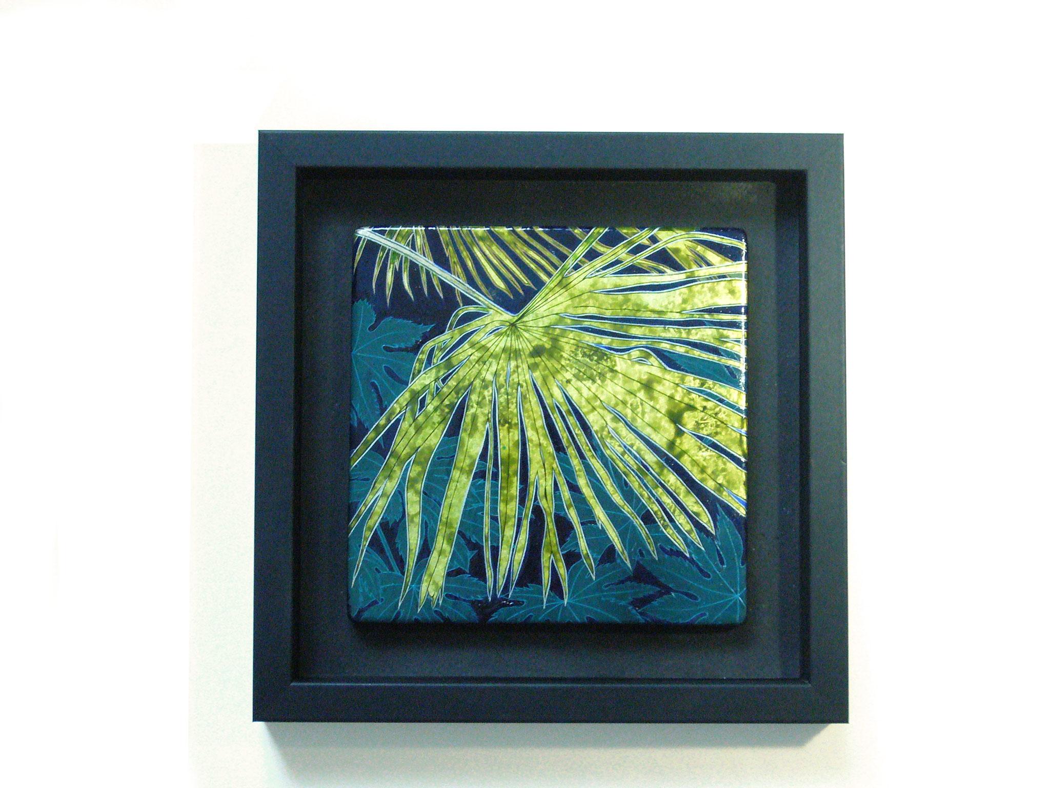 Komorebi, 15x15cm, 2018, laque sur bois avec pigments et feuille d'or vert
