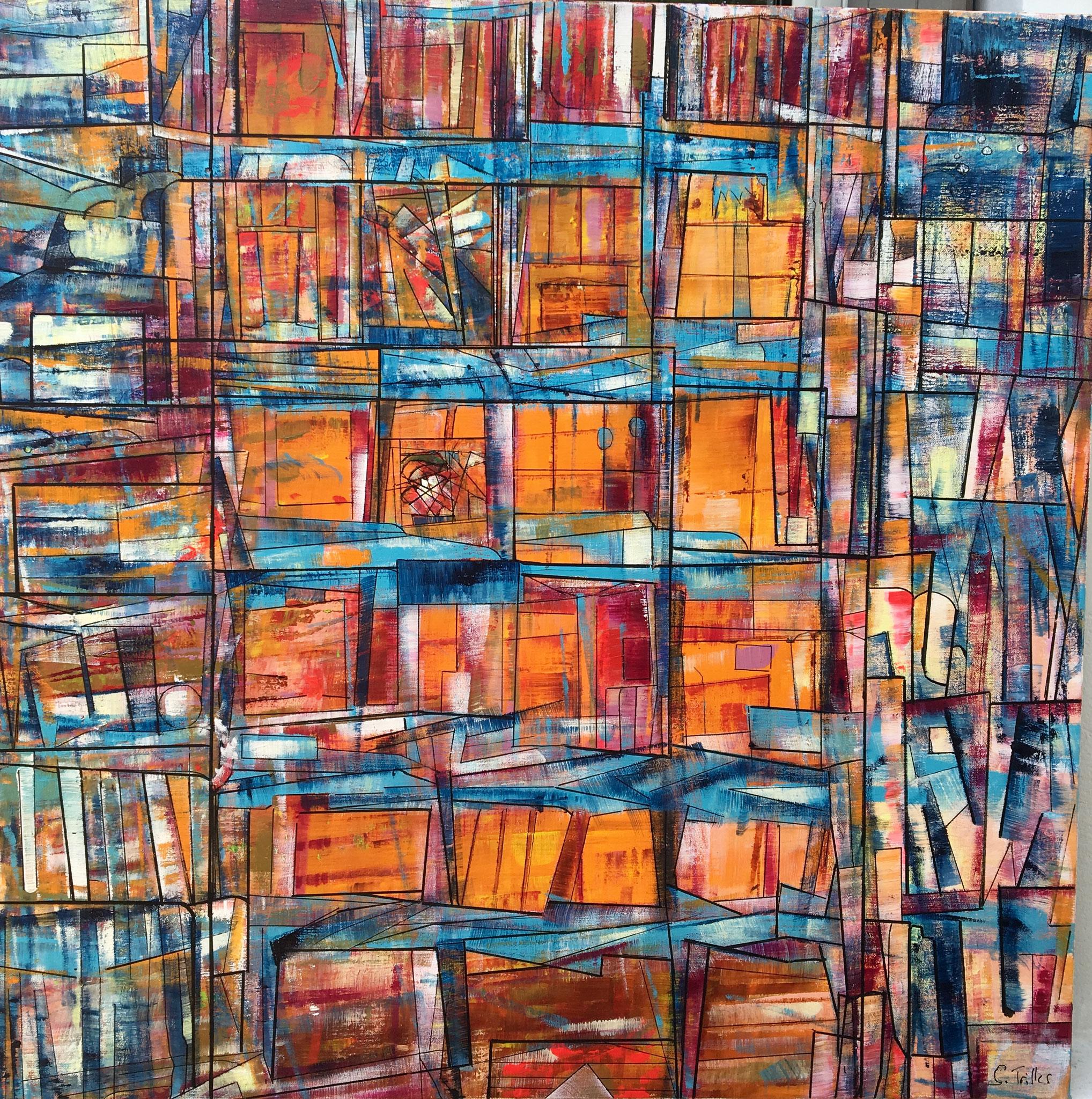"""""""Tropique""""- acrylique sur toile (80x80)- Sylvie Trilles Fontaine"""