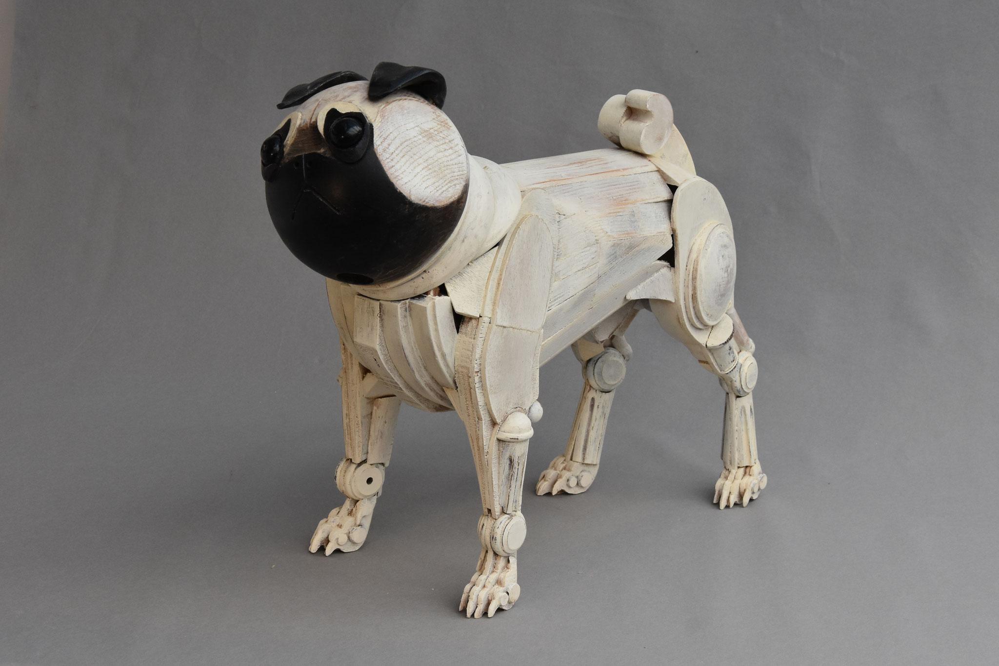 """""""Carlin"""", sculpture en bois .dim:  H:35 cm, L: 40 cm, l: 15 cm, JP Douziech"""