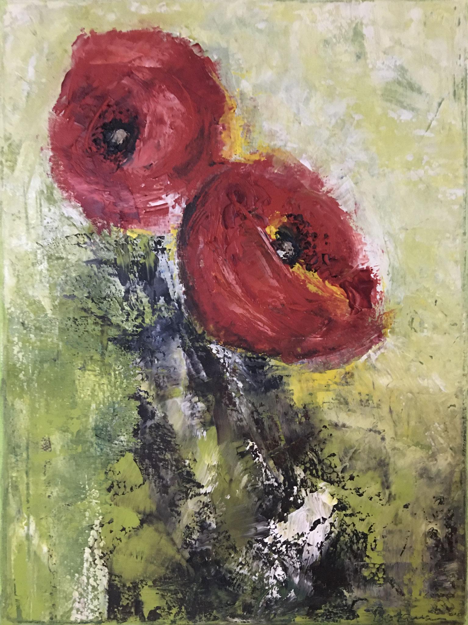 """Mohnblumen"", Öl auf Leinwand, 30 x 40 cm, gespachtelt (verkauft)"