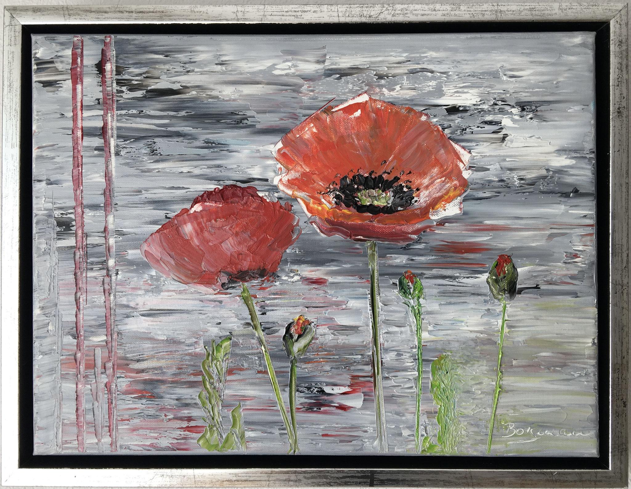 """""""Mohnblumen"""", Öl auf Leinwand, 30 x 40 cm, gespachtelt mit Rahmen"""