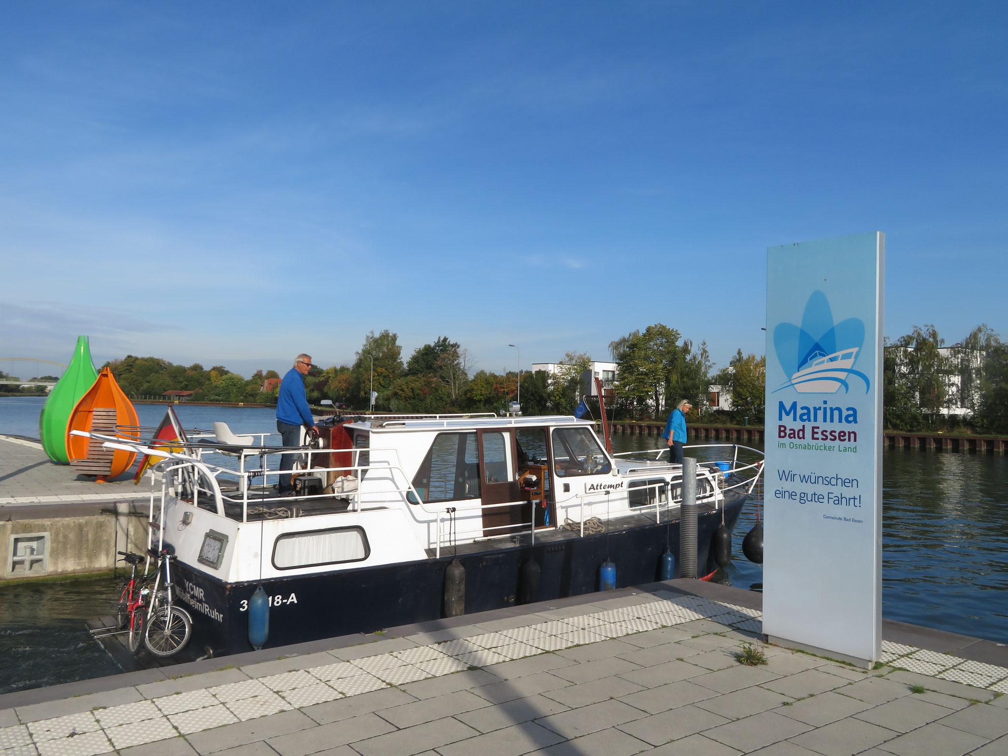 auch mit dem Rad starten wir in Bad Essen am Yachthafen