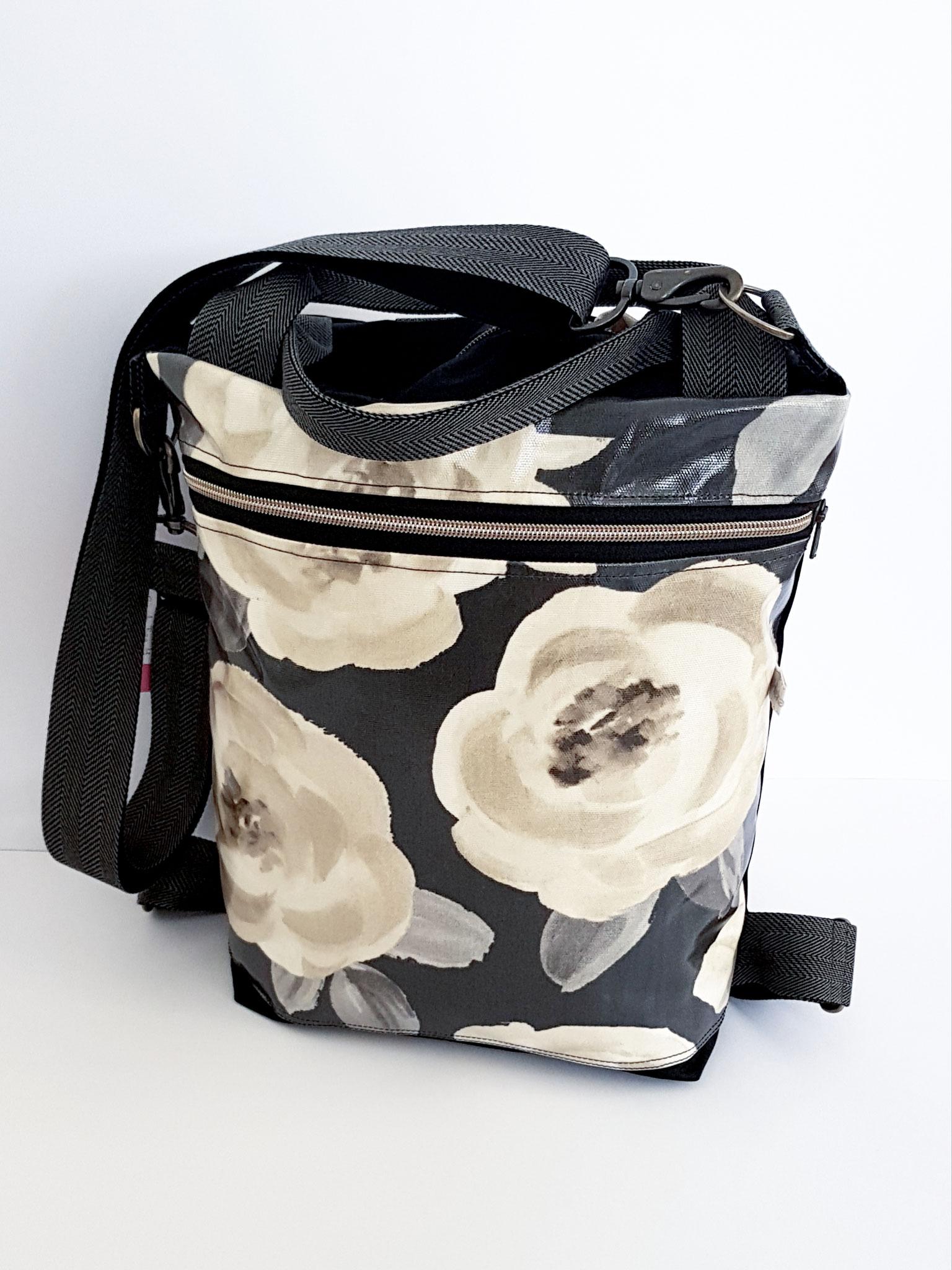 3in1 Bag M, schwarz mit Rosen