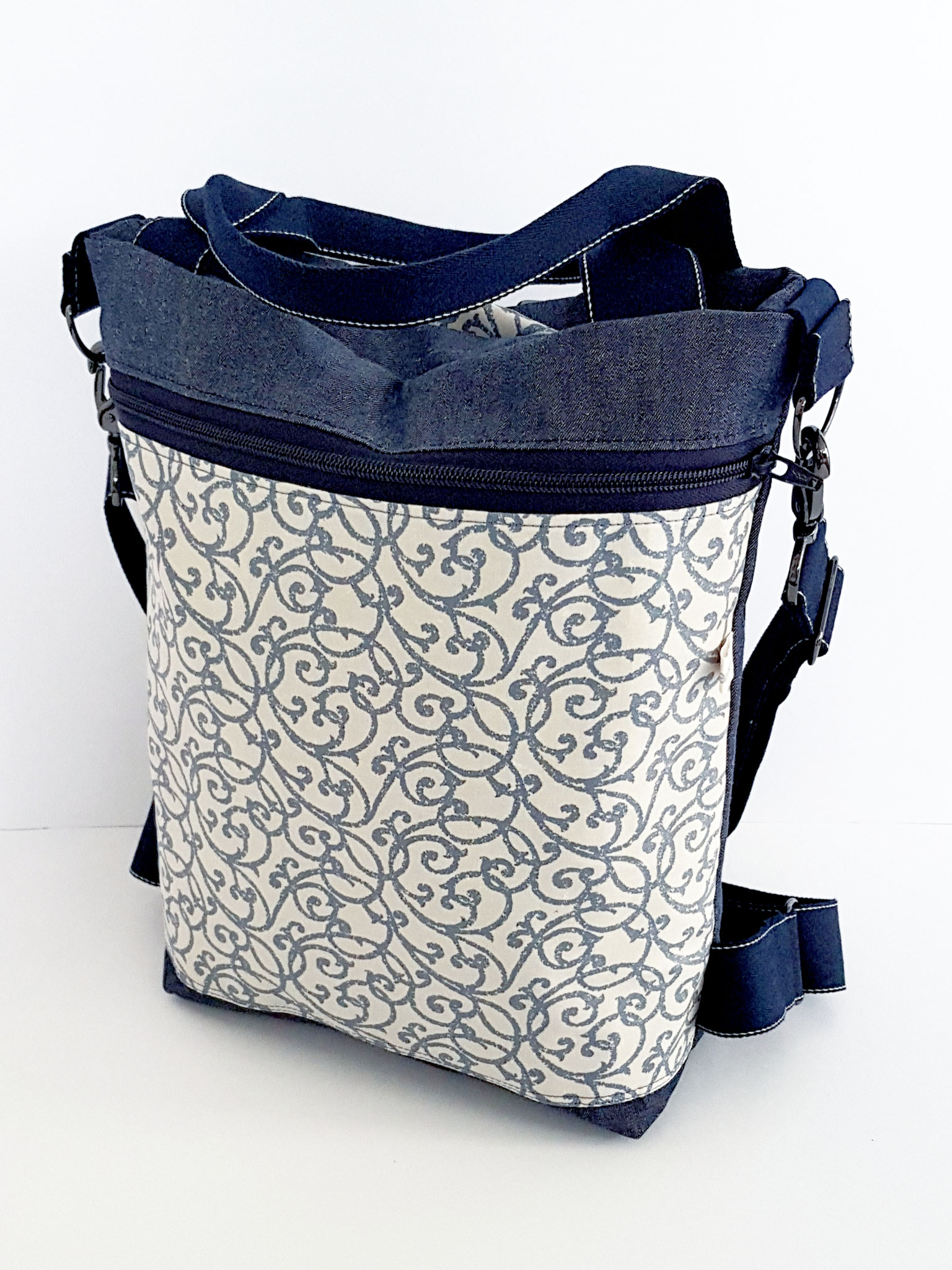 3in1 Bag M, Oilskin trochen Denim kombiniert mit beschichteter Baumwolle, verkauft