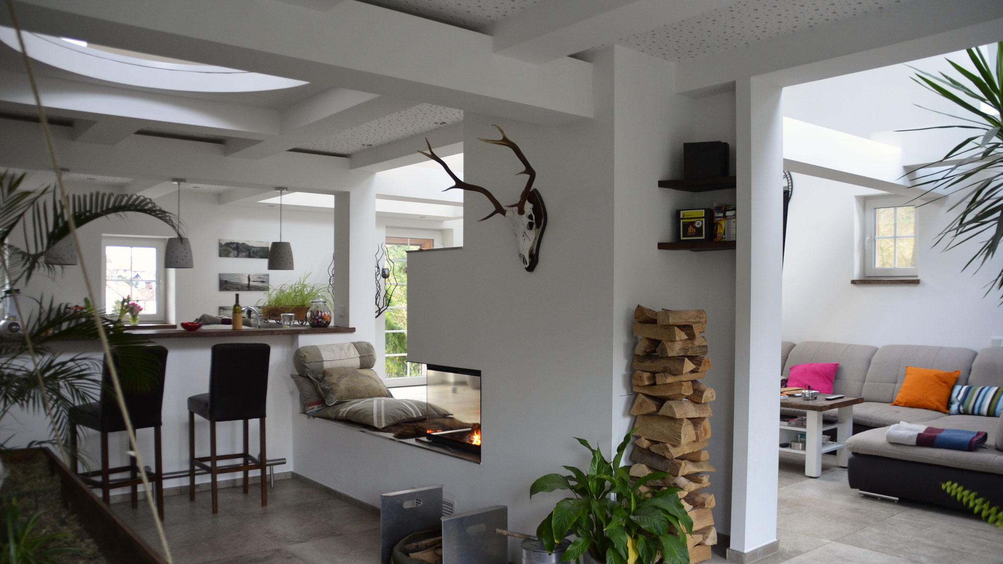 Privatkunden, Sanierung und Ausbau einer Scheune, Wände und Decken.