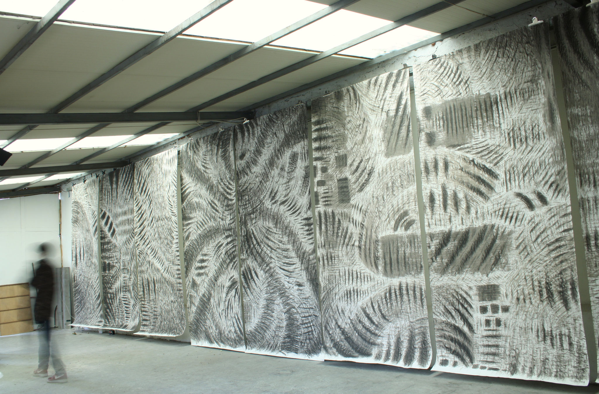 Monosema - 2017 - polyptych - ashes on paper, m 3,40 x 12  [each panel cm 340 x 150] view of provisional wall-installation at Muta